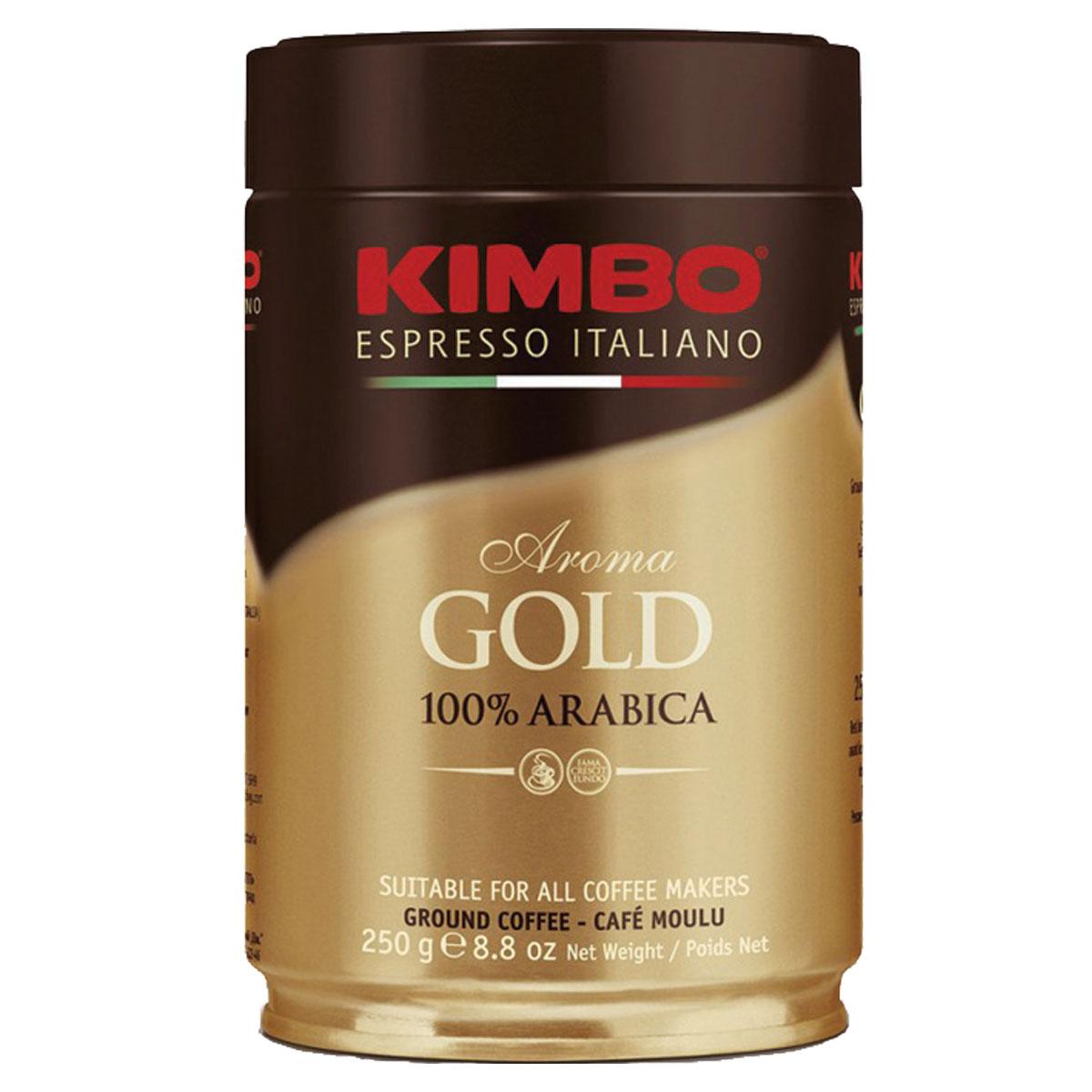 Kimbo Aroma Gold 100% Arabica кофе молотый, 250 г (ж/б)8002200102128Натуральный жареный молотый кофе Kimbo Gold 100% Arabica. Смесь превосходной арабики отличается нежным вкусом, мягкой кислинкой и тонким ароматом. Состав смеси: 100% арабика.