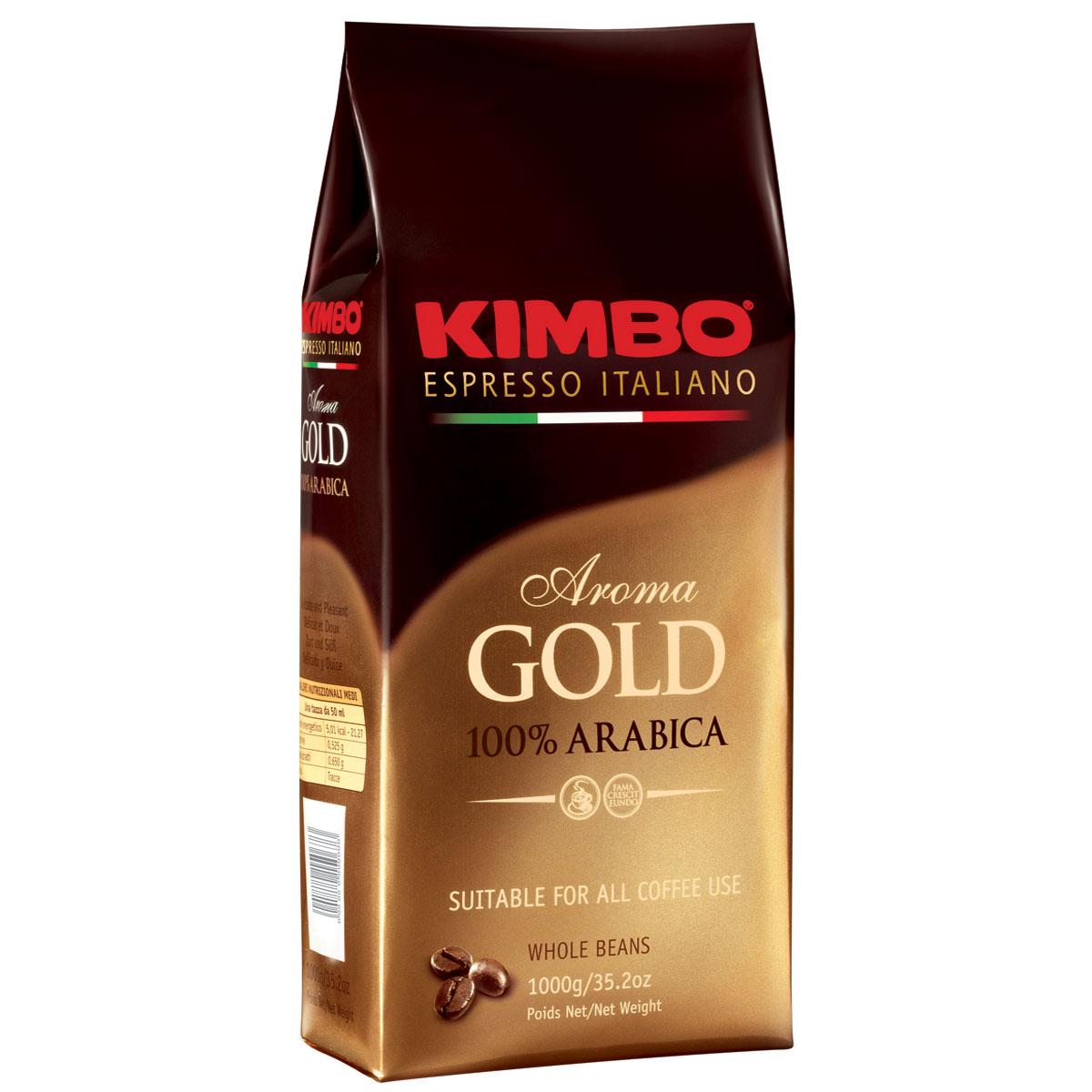 Kimbo Aroma Gold 100% Arabica кофе в зернах, 1 кг8002200102180Натуральный жареный кофе в зернах Kimbo Aroma Gold 100% Arabica. Смесь превосходной арабики отличается нежным вкусом, мягкой кислинкой и тонким ароматом. Состав смеси: 100% арабика.
