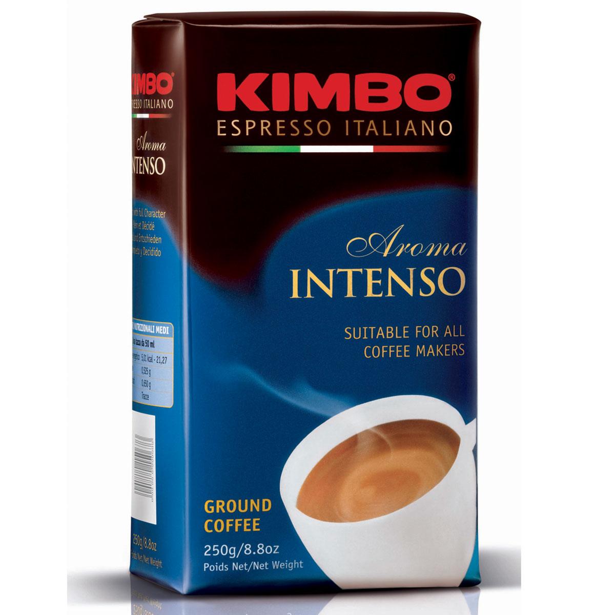 Kimbo Aroma Intenso кофе молотый, 250 г8002200601119Натуральный жареный молотый кофе Kimbo Aroma Intenso. Крепкий кофе с шоколадным послевкусием и ярким ароматом. Изысканная смесь арабики и робусты придаёт «Кимбо Арома Интенсо» насыщенный вкус. Состав смеси: 80% арабика, 20% робуста.
