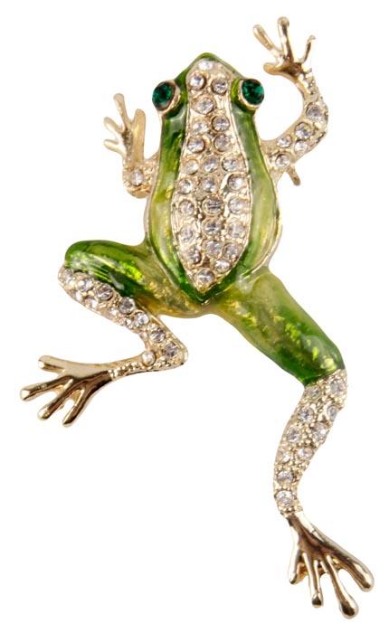 Брошь Зеленый лягушонок. Бижутерный сплав, австрийские кристаллы, эмаль. Конец XX века19/0112Брошь Зеленый лягушонок. Бижутерный сплав, австрийские кристаллы, эмаль. Конец XX века. Размер: 4 х 6,5 см. Сохранность хорошая. Забавная брошь выполненная в виде лягушки. Аксессуар сделан из бижутерного сплава золотого оттенка с добавлением эмалей зеленых оттенков. Инкрустирован целой россыпью прозрачных кристаллов, вместо глазок два кристалла зеленого цвета. Имеется ушко для цепочки, можно носить и как подвеску. Эта забавная брошь станет оригинальным украшением для ярких индивидуальностей. Отличный повседневный аксессуар. Лягушка-это символ который принесет вам удачу и богатство.