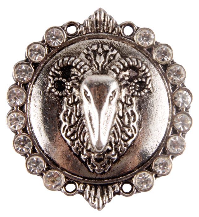 """Брошь """"Овен"""". Бижутерный сплав, австрийские кристаллы. Конец XX века"""