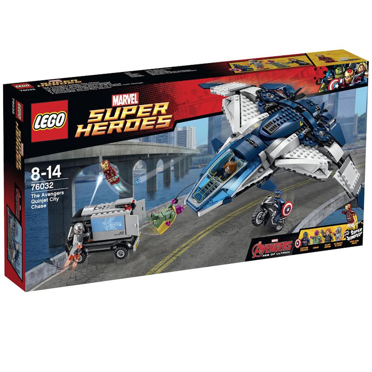 LEGO Super Heroes Погоня на Квинджете Мстителей 7603276032Игровой набор от компании Lego позволит малышу инсценировать увлекательные погони на Квиджете Мстителей за грузовиком. Сверхзвуковой самолет выполнен из бело-синих деталей с голубым ветровым стеклом, подняв которое, можно рассмотреть интерьер и приборную панель управления. Квинджет оборудован подвижными крыльями, самонаводящимися ракетницами и системой бомбометания. В центральной части есть тайный отсек для перевозки мотоцикла Капитана Америки. Для катапультирования необходимо открыть люк рядом с шасси. В хвосте летательного аппарата расположен грузовой отсек с опускающейся стенкой, что позволит завозить технику и инвентарь внутрь корабля. Также для транспортировки небольших грузов или десантирования можно использовать тросовую лебёдку. Найди Альтрона по следам с помощью легендарного Квинджета Мстителей. Помести Черную вдову за пульт управления и взмывай в небо. Стреляй из шипованных шутеров и освободи Капитана Америку на супер-мотоцикле, чтобы продолжить погоню по улицам....