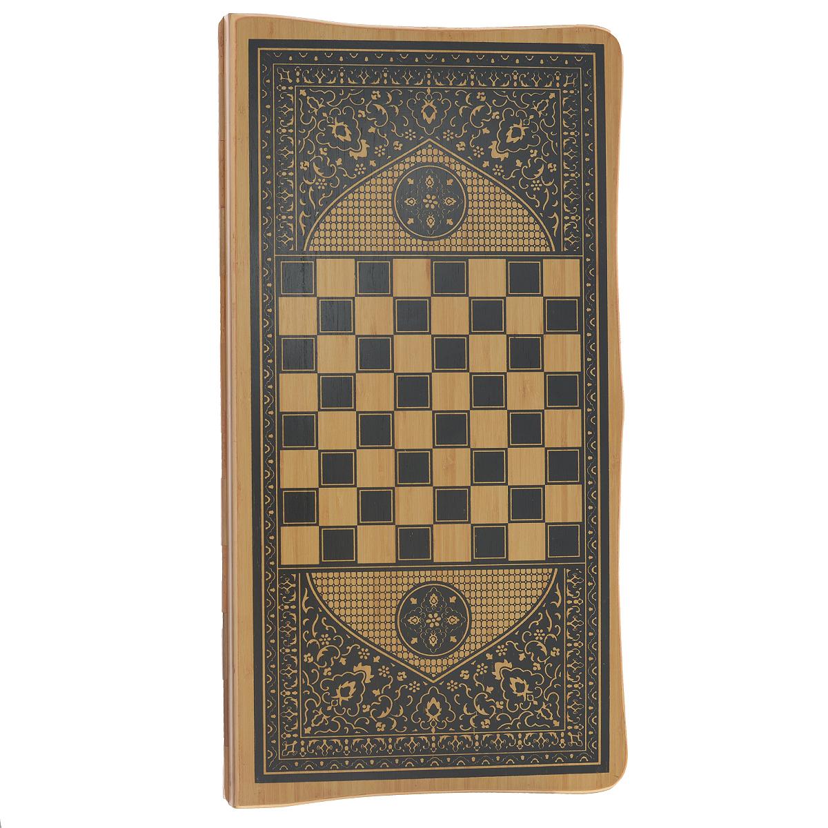 Игра настольная Русские Подарки Нарды и Шахматы, размер: 64*31 см. 2451924519Нарды и Шахматы - набор из двух настольных игр, который подойдет для всех возрастов. Доска выполнена из высококачественного дерева и украшена орнаментами. Благодаря оригинальному дизайну игрового поля, набор станет отличным подарком. Нарды и Шахматы - это хорошее средство для развития логического мышления, концентрации, внимания.