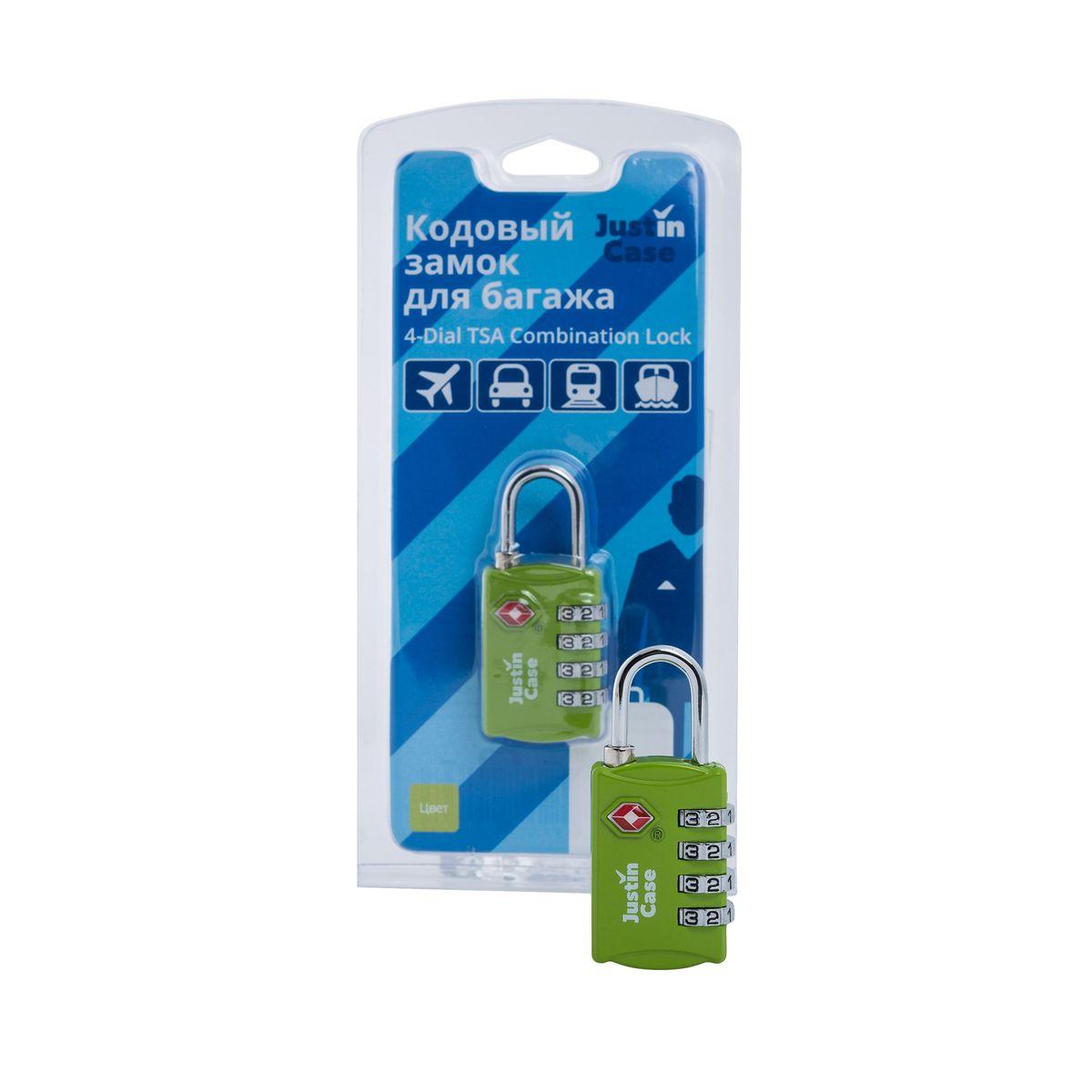Замок кодовый для багажа JustinCase 4-Dial TSA Combination Lock, цвет: зеленыйA5127GRЕще один вариант защиты багажа - компактный кодовый багажный замок. Кодовый замок JustinCase 4-Dial TSA Combination Lock отличается от обычного тем, что вы можете установить собственную, известную только вам комбинацию цифр, без которой кодовый замок для багажа просто не откроется. Замок этот очень прочен - изготовлен из цинкового сплава. Если в вашем багаже есть хоть одна ценная вещь, такой замок позволит вам спокойно сдавать чемоданы и сумки багажным службам.