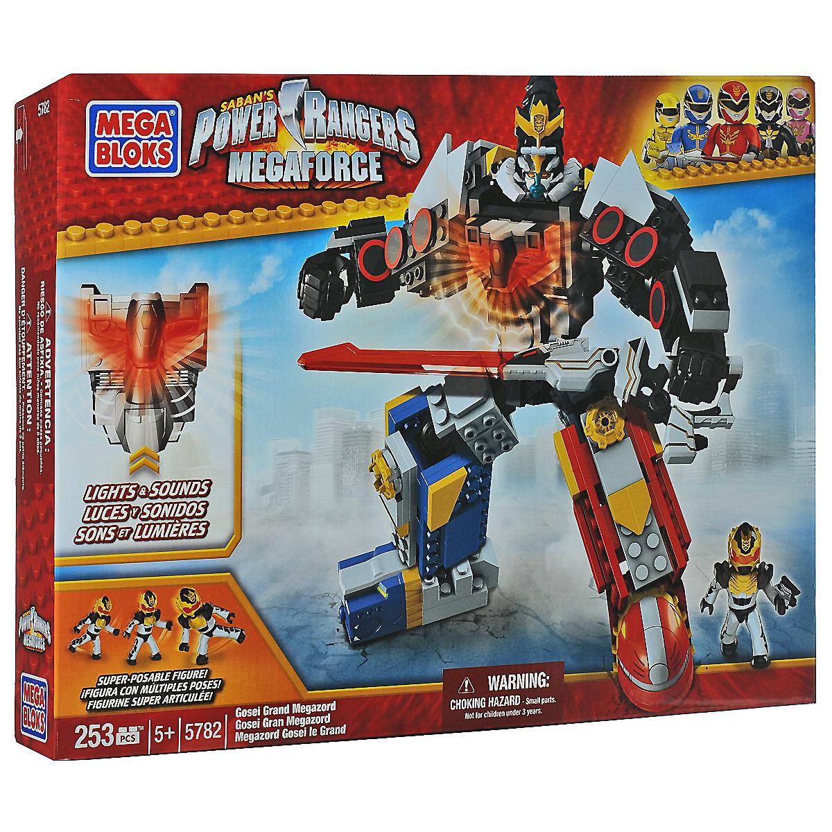 Mega Bloks Могучие рейнджеры Конструктор Великий Мегазорд05782MМегазорды - это огромные роботы, которые получаются, если собрать вместе зордов - личных роботов Могучих рейнджеров. С помощью них рейнджеры могут сражаться с особенно сильными врагами и побеждать. Вступайте в битву за спасение мира вместе с Мегазордом! Конструктор Mega Bloks Могучие рейнджеры: Великий Мегазорд включает 253 ярких пластиковых элемента. В этом наборе вы найдете ментора Мега рейнджеров - Госея. Мегазорд собирается из трех частей - Lion Mechazord, Sea Lion Zord и Sky Lion Zord. Некоторые блоки Мегазорда загораются, а также игрушка издает характерные звуки из мультфильма. Руки и ноги робота подвижны, благодаря чему фигурке можно придавать различные положения. Красочная схематичная инструкция поможет собрать робота правильно и быстро. Конструктор Mega Bloks Могучие рейнджеры: Легендарный Мегазорд можно комбинировать и с другими конструкторами Mega BloksPower Rangers Super Megaforce. Ваш малыш будет в восторге от такого подарка! Робот работает...
