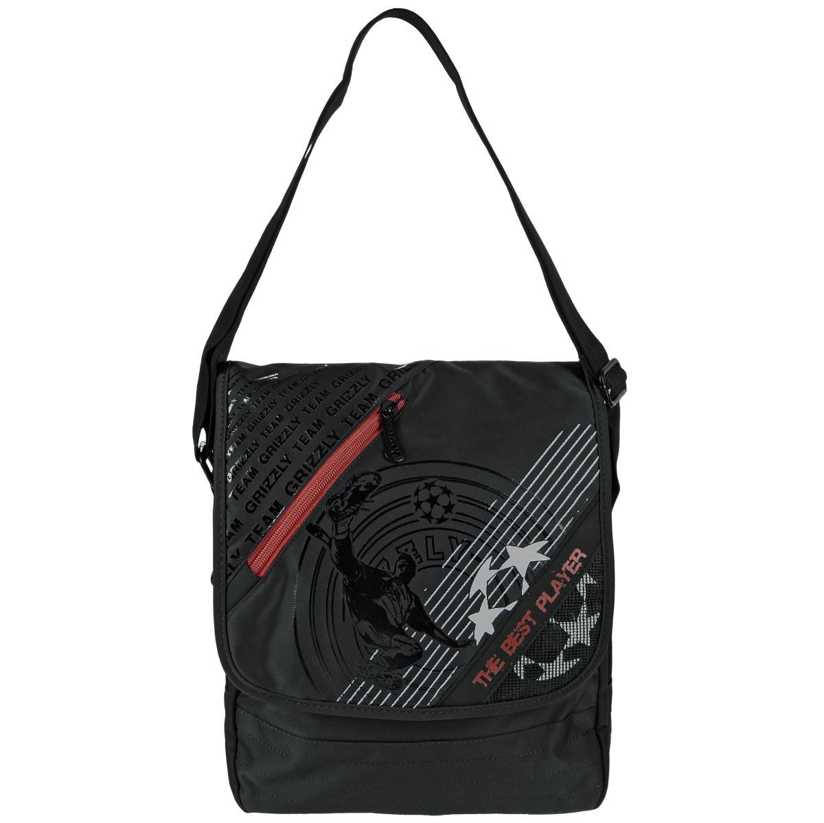 Grizzly Сумка школьная цвет черный красный MM-407-2ММ-407-2/2Сумка молодежная наплечная с клапаном, двумя отделениями, передними, задними и внутренними карманами и регулируемым ремнем.