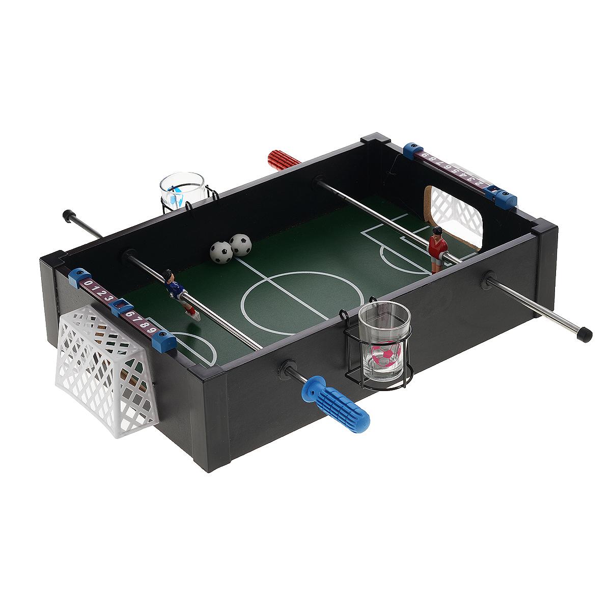 Игра настольная Русские Подарки Футбол, размер: 40*38*8 см. 4242742427Настольная игра Русские Подарки Футбол, выполненная из MDF, очень увлекательна. В комплект игры входят: подставка с игровым полем, два рычага, на каждом по одной фигурке футболиста, два мячика, двое пластиковых ворот, две стопки в специальных металлических корзинах для подвешивания к бортам игрового поля и инструкция на русском языке. На бортах игрового поля предусмотрены два специальных табло с курсором для ведения счета. Принцип игры: при помощи рычагов по краям игрового поля игроки управляют футболистом своей команды, перебрасывают мяч с целью забить гол в ворота соперника. Шарик, попавший в ворота соперника означает, чья очередь сейчас говорить тост и пить любимые напитки!