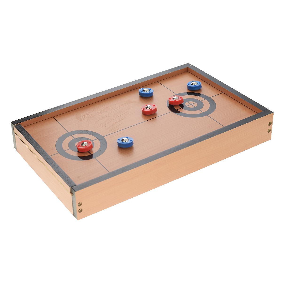 Игра настольная Русские Подарки Керлинг, размер: 40*23*6 см. 4233042330Настольная игра Русские Подарки Керлинг, выполненная из MDF, очень увлекательна и понравится как детям, так и взрослым. В комплект игры входят: подставка с игровым полем, шесть камней (три синих и три красных, выполненных из пластика с металлическим шаром внутри), инструкция на русском языке. Камни хранятся в специальном отсеке под игровым полем. Цель игры - по окончанию игры ваш камень должен стоять ближе к центру дальнего круга, чем камень соперника. Не рекомендуется детям до 3-х лет.