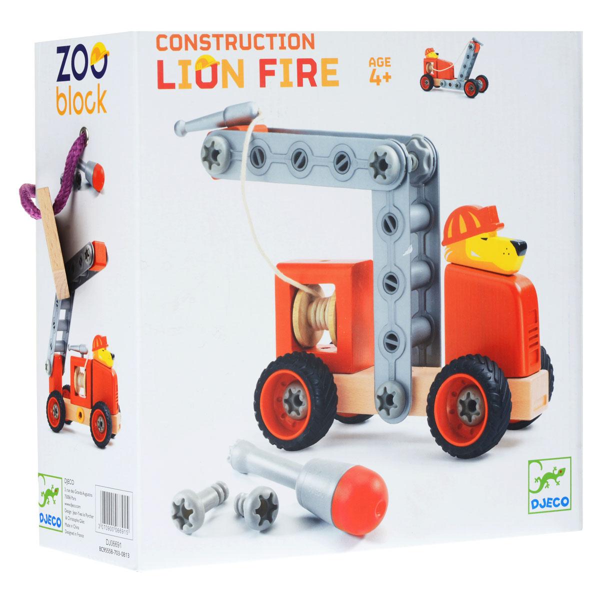 Djeco Конструктор-трансформер Лев пожарный06691Конструктор-трансформер Djeco Лев-пожарный понравится вашему малышу. Конструктор включает 35 элементов, из которых малыш сможет собрать несколько вариантов пожарной машины, которой управляет лев. Помогут ему в этом отвертка и схематичная инструкция, которые также входят в комплект. Элементы конструктора выполнены из дерева и пластика и имеют удобную для детских ручек форму. Они надежно крепятся друг к другу, так что игрушку можно не только собирать, но и играть с ней. Благодаря высочайшему качеству и прочным деталям с игрушкой прекрасно можно играть как дома, так и на улице. Детский конструктор Djeco Лев-пожарный развивает мелкую моторику рук, сообразительность и усидчивость ребенка.