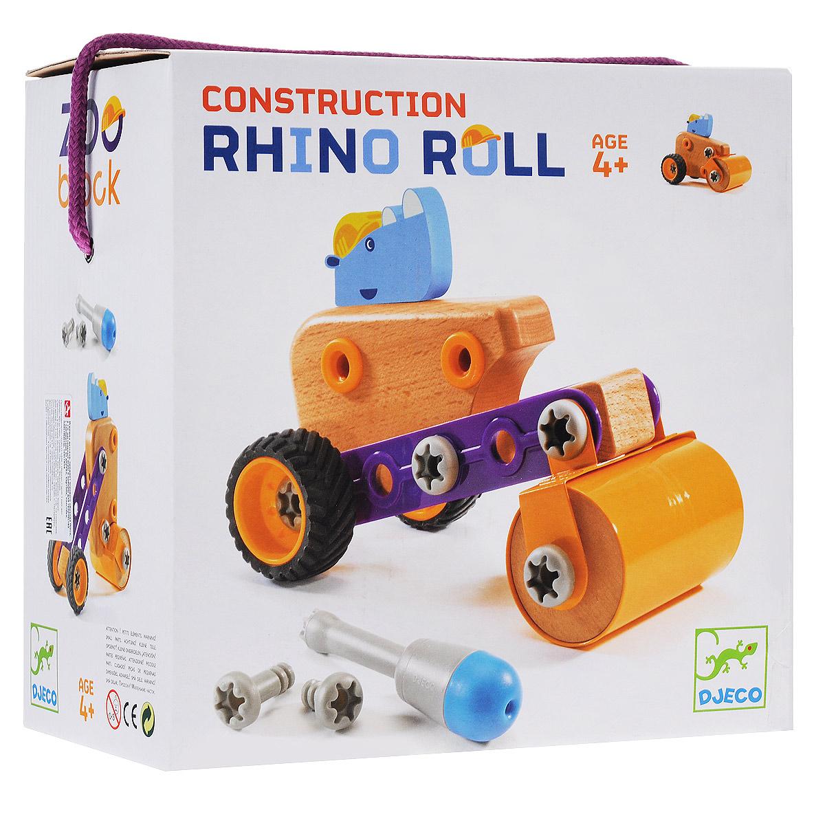 Djeco Конструктор-трансформер Носорог Рол06693Конструктор-трансформер Djeco Носорог Рол понравится вашему малышу. Конструктор включает 21 элемент, из которых малыш сможет собрать несколько вариантов строительного катка, которым управляет носорог. Помогут ему в этом отвертка и схематичная инструкция, которые также входят в комплект. Элементы конструктора выполнены из дерева (цельный бук), металла и пластика и имеют удобную для детских ручек форму. Они надежно крепятся друг к другу, так что игрушку можно не только собирать, но и играть с ней. Благодаря высочайшему качеству и прочным деталям с игрушкой прекрасно можно играть как дома, так и на улице. Детский конструктор Djeco Носорог Рол развивает мелкую моторику рук, сообразительность и усидчивость ребенка.