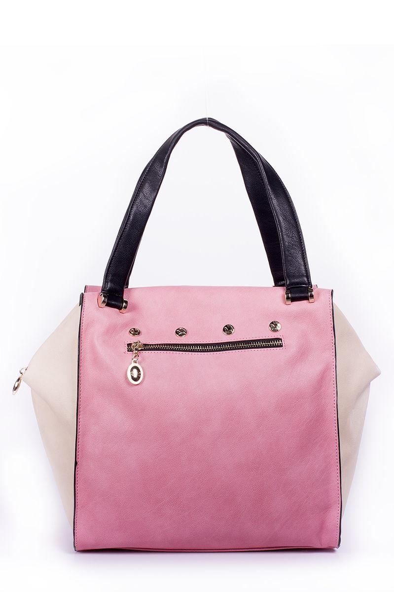 Сумка женская Renee Kler, цвет: розовый, бежевый, черный. RK083-10RK083-10Оригинальная женская сумка Renee Kler выполнена из высококачественной искусственной кожи. Модель имеет одно основное отделение, закрывающееся на застежку-молнию. Внутри - два нашивных кармана для телефона, мелочей и прорезной карман на застежке-молнии. Снаружи на задней и передней стенке располагаются дополнительные прорезные карманы на молнии. Сумка оснащена двумя ручками для удобной переноски в руках. Изделие упаковано в фирменный чехол на кулике. Такая сумка станет роскошным дополнением к вашему образу.