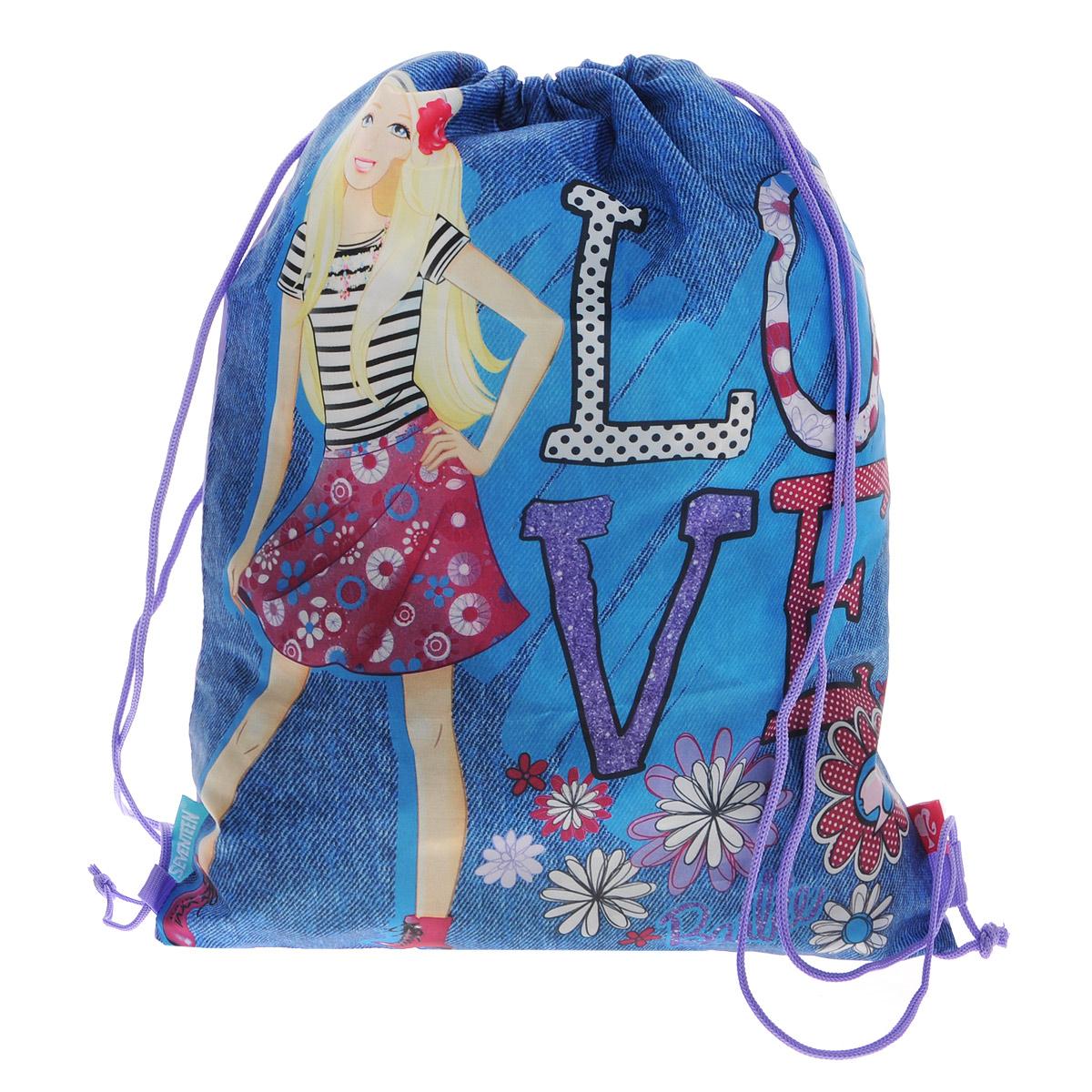 Barbie Сумка-рюкзак для обуви цвет синий BRCB-RT2-883BRCB-RT2-883Сумка для сменной обуви Barbie идеально подойдет как для хранения, так и для переноски сменной обуви и одежды. Сумка выполнена из прочного водонепроницаемого полиэстера и содержит одно вместительное отделение, затягивающееся с помощью текстильных шнурков. Шнурки фиксируются в нижней части сумки, благодаря чему ее можно носить за спиной как рюкзак. Изделие оформлено изображением любимой героини - красавицы Барби.