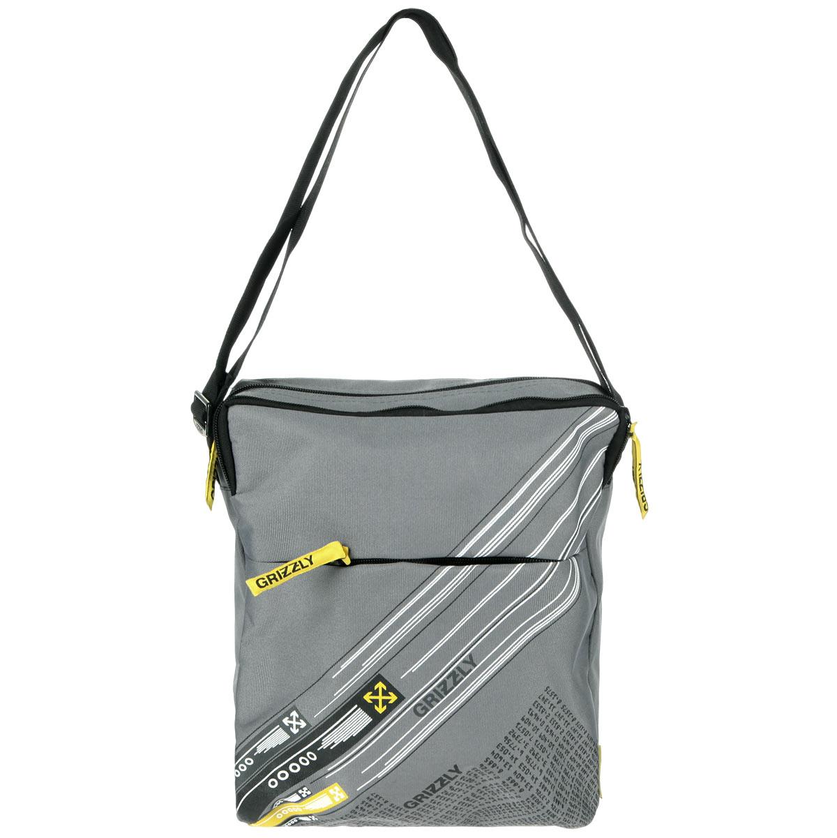 Grizzly Сумка школьная цвет серый желтый MM-502-3ММ 502-3/3Молодежная сумка с одним отделением, с плоским карманом на передней и задней стенке, внутренним карманом для документов , с регулируемым плечевым ремнем