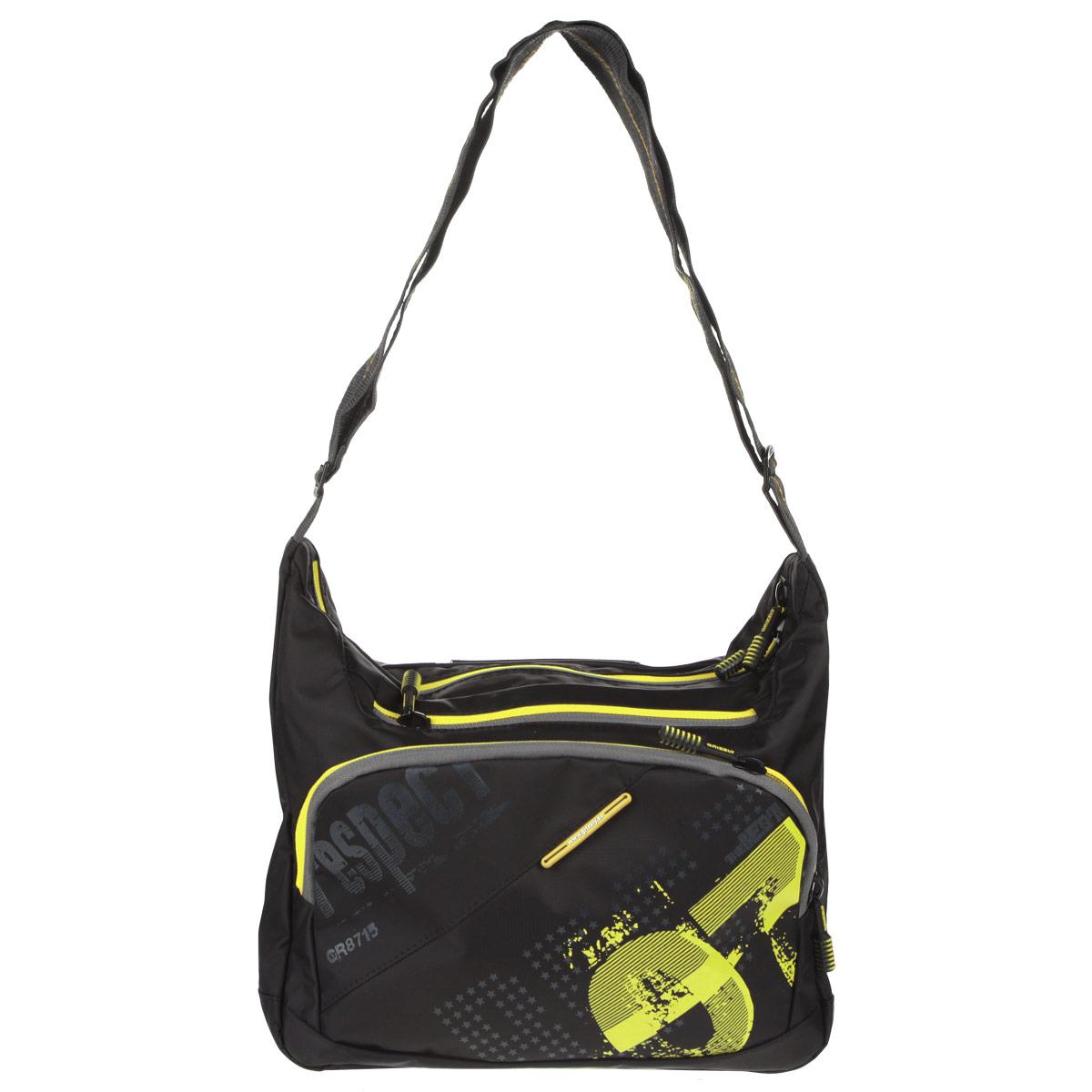 Grizzly Сумка школьная цвет черный желтыйММ-512-2/1Сумка молодежная наплечная с одним отделением, передними, боковыми, задним и внутренними карманами, ручкой для переноски и регулируемым плечевым ремнем