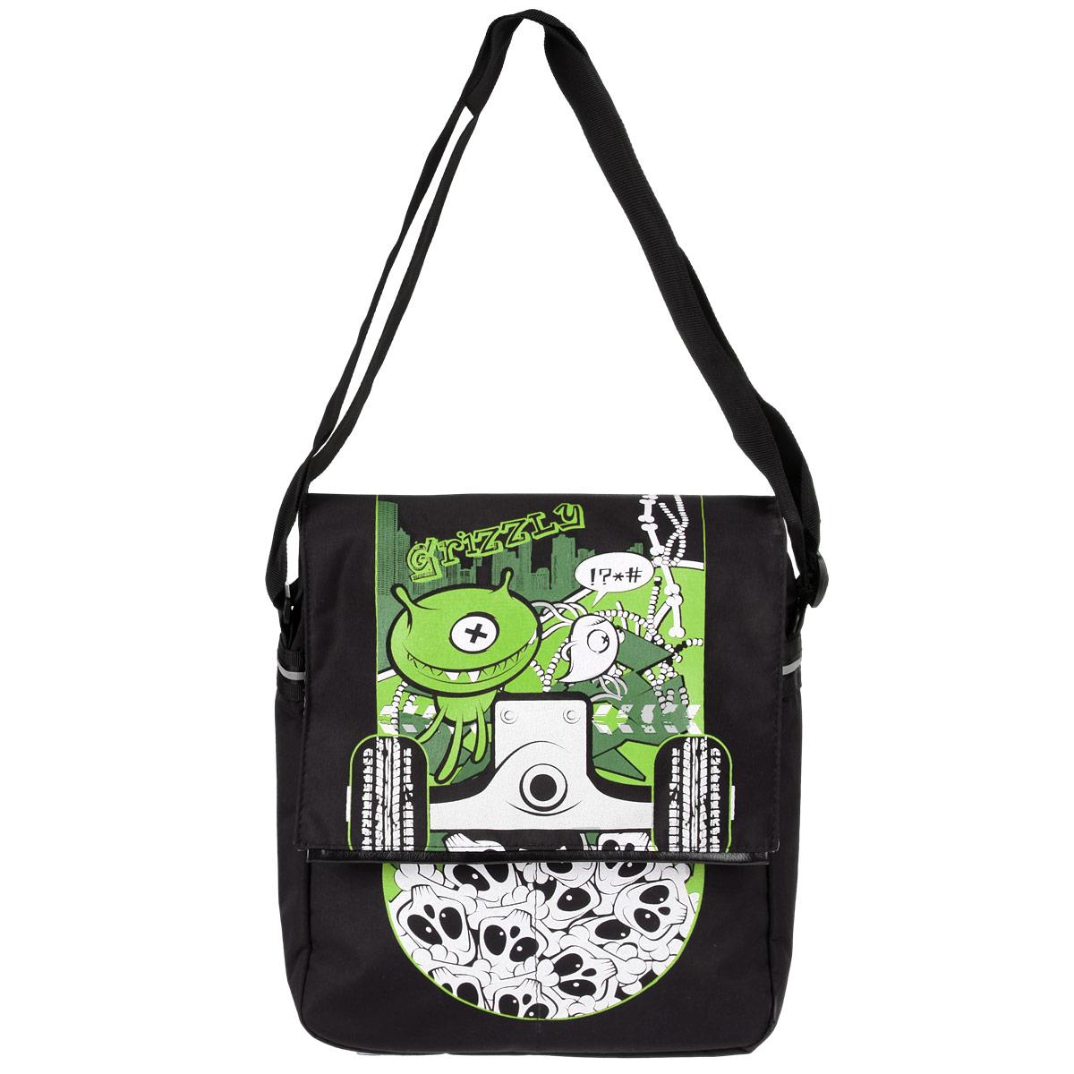Сумка школьная Grizzly, цвет: черный, зеленый. MM-426-3MM-426-3/2Сумка молодежная с двумя отделениями и клапаном, плоскими карманами на передней стенке, карманом на молнии на задней стенке, с внутренними карманами, регулируемым плечевым ремнем и ручкой для переноски