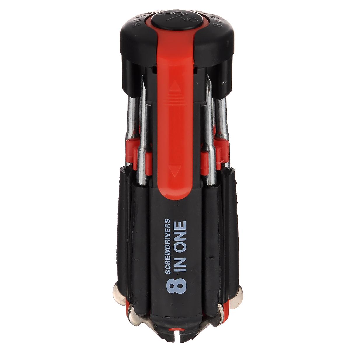 Набор отверток Bradex, с фонариком, 7 штTD 0277Набор Bradex, изготовленный из высококачественного ABS пластика и стали, содержит 7 отверток. Изделие также оснащено мощным фонариком и идеально подходит для работы в плохо освещенных труднодоступных местах. Набор удобно лежит в руке и прикрепляется к одежде или карману сумки при помощи клипсы. Набор незаменим для ремонта, похода и путешествий, и прослужит вам долгие годы. Общая длина инструмента: 12,5 см. Диаметр инструмента: 4,5 см. Длина отвертки: 9 см. Фонарик работает от 3 батареек типа AAA (в комплект не входят).