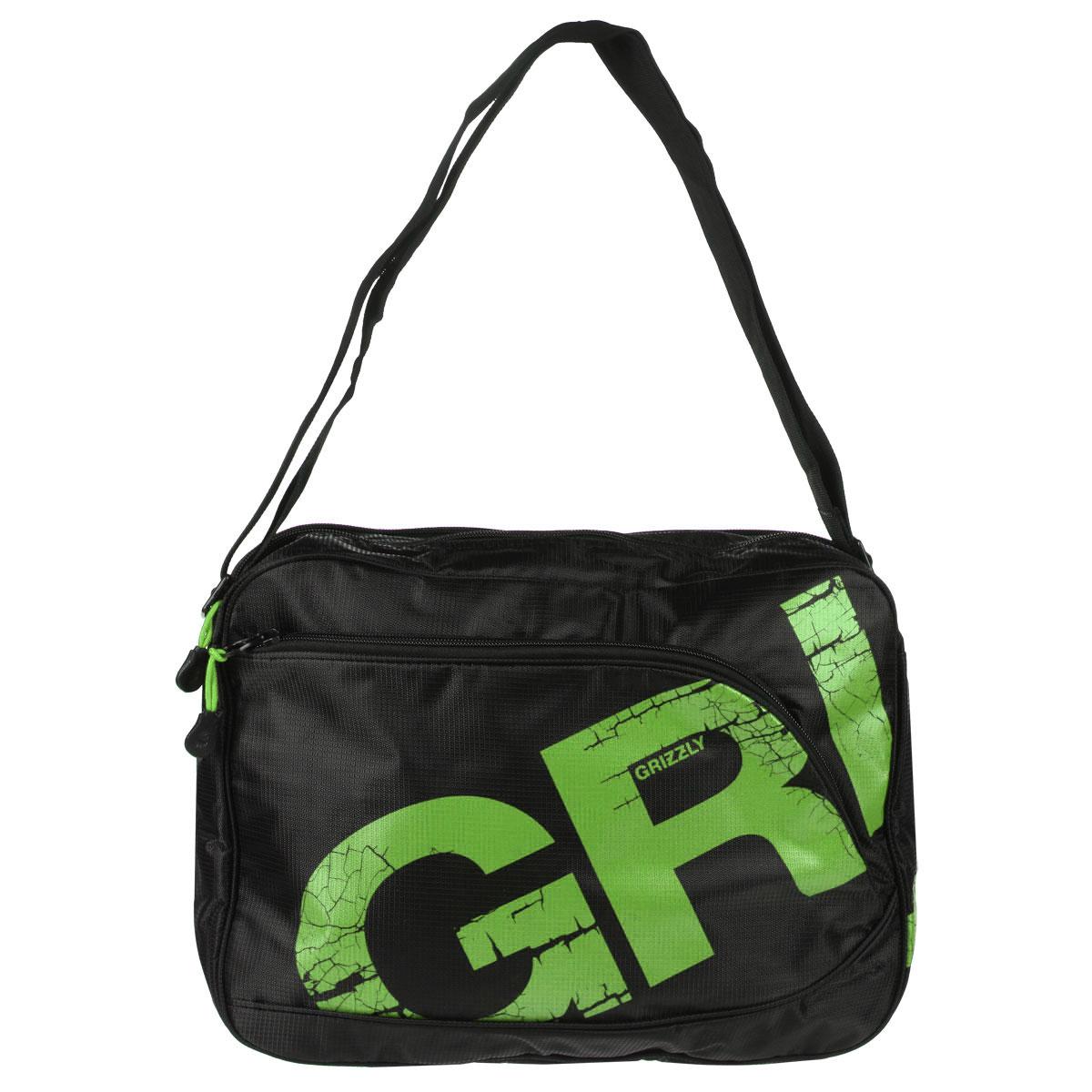 Grizzly Сумка школьная цвет черный салатовый MM-423-3ММ-423-3/3Молодежная сумка с двумя отделениями, застегивающимися на молнии. На сумке имеются множество карманов, на передней и задней стенках и внутри сумки. Имеется регулируемый ремень и ручка для переноски.