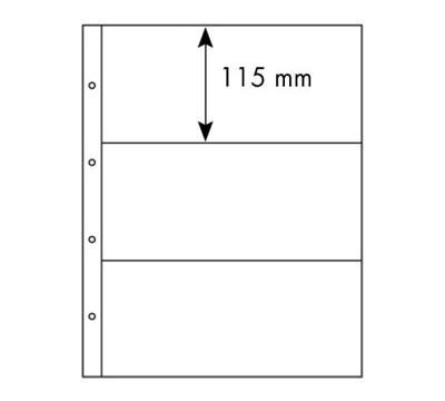 Лист в альбом Folio 3С для ценных бумаг, на 3 ячейки. Leuchtturm. 309014 (10 листов в упаковке)309014Характеристики: Размер листа: 29 см х 36,5 см Размер ячейки: 26 см x 11,5 см Количество листов в упаковке: 10
