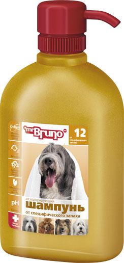 Шампунь-кондиционер для собак Mr. Bruno, дезодорирующий, от специфического запаха, 350 млMB05-00710Дезодорирующий шампунь-кондиционер специально разработан для удаления неприятных запахов и поддержания шерсти вашего питомца чистой. Этот мягкий, не содержащий мыла натуральный шампунь хорошо очищает шерсть, не повреждая натурального защитного покрытия шерсти и кожи. Специальный PVP - кондиционер: оставляет шерсть блестящей; хорошо увлажняет кожу. Дезодорирующие компоненты создают яркий приятный аромат зеленых трав. Шампунь-кондиционер Mr. Bruno имеет нейтральный Ph баланс и легко смывается. Хорошо подходит для щенков, кормящих, больных и ослабленных животных. Этот шампунь-дезодорант для собак обогащен ланолином, поэтому может быть рекомендован к использованию для придания дополнительной мягкости, эластичности и блеска шерсти. Его также можно рекомендовать для применения, если шерсть травмированная, тусклая или секущаяся. Товар сертифицирован.
