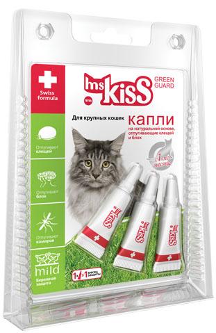 Капли репеллентные Мисс Кисс для крупных кошек весом более 2 кг, 3 шт х 2,5 млMK05-00360Репеллентные капли. Эффективная и бережная защита животных до 3-х месяцев от нападения летающих насекомых и эктопаразитов, таких как комары, блохи, вши, власоеды, мошка, клещи.