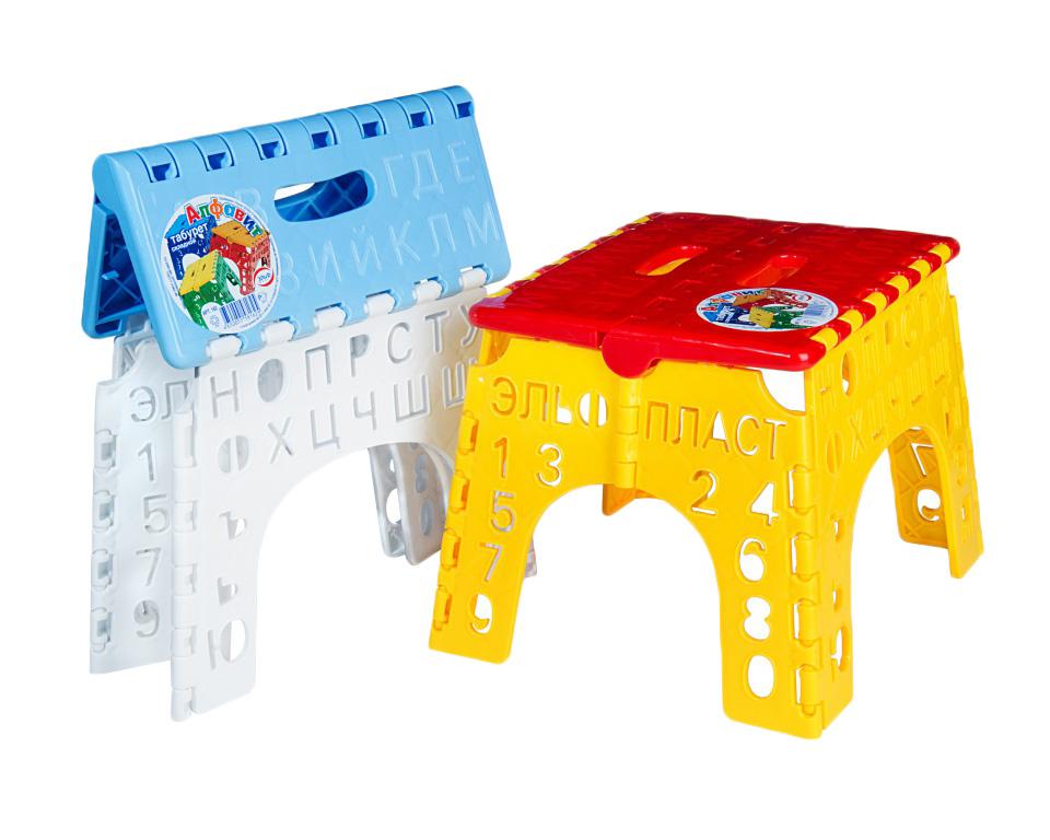 Табурет Алфавит для детей бело/голубой162Складной детский табурет Эльфпласт Алфавит изготовлен из прочного пластика, безопасного для детей. Сиденье стула оформлено изображением букв, а ножки - перфорацией в виде букв и цифр. Такой табурет в игровой форме ознакомит ребенка с буквами русского алфавита и цифрами. Его можно использовать дома, в саду, в детской, в дороге, на пикнике. Прочность и надежность табурета сочетаются с удобством и компактностью при транспортировке и хранении. В сложенном виде его толщина всего 4 см. Размер сидения: 19 см х 23 см. Высота: 20 см.