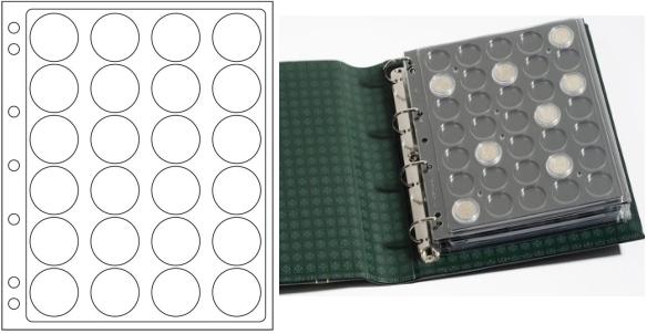 Лист в альбом Grande ENCAP34/35 для монет в капсулах, на 24 ячейки. Leuchtturm. 343213 (5 листов в упаковке)343213Характеристики: Размер листа: 24 см х 28,2 см Размер ячейки: 3,4 см x 3,4 см Количество листов в упаковке: 5