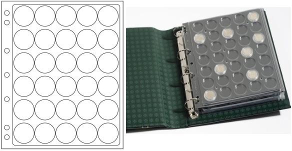 Лист в альбом Grande ENCAP 32/33 для монет в капсулах, на 30 ячеек. Leuchtturm 329237 (5 листов в упаковке)329237Характеристики: Размер листа: 24 см х 28,2 см Количество листов в упаковке: 5