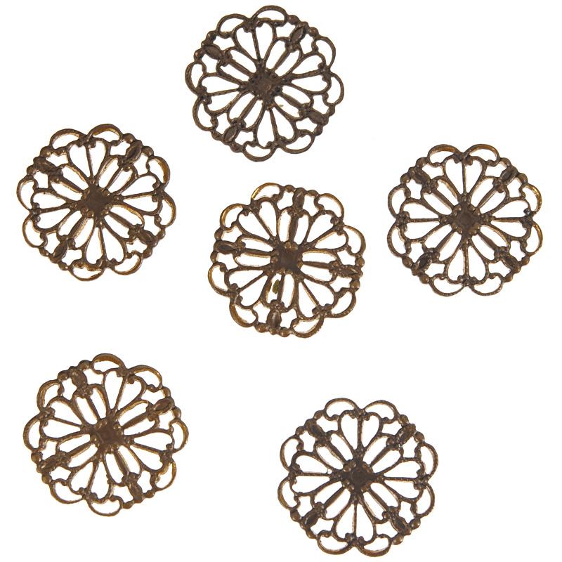Коннектор для бижутерии Vintaj Принцесса, диаметр 15 мм, 6 штC4H100RRНабор Vintaj Принцесса изготовлен из металла и используется для создания бижутерии. Элементы в наборе выполнены в технике филигрань и имеют оригинальный дизайн. Филигрань - ювелирная техника, разновидность художественно - прикладного искусства, использующая ажурный или напаянный на металлический фон узор из проволоки. Коннекторы - это декоративные соединительные элементы, являющиеся одним из видов фурнитуры для бижутерии при создании украшений своими руками. Они бывают разных размеров и стилей, а также имеют две и более петли (отверстия). Используют коннекторы как дополнительный элемент в украшение, который служит соединительным звеном при сборке браслетов, колье, бус. Посредством коннектора для бижутерии можно прикрепить различные бусины, камни или металлические детали, что с успехом используется при создании серег и кулонов и, таким образом, коннектор может стать основным элементом создаваемого вами украшения. Коннектор это важный и незаменимый...