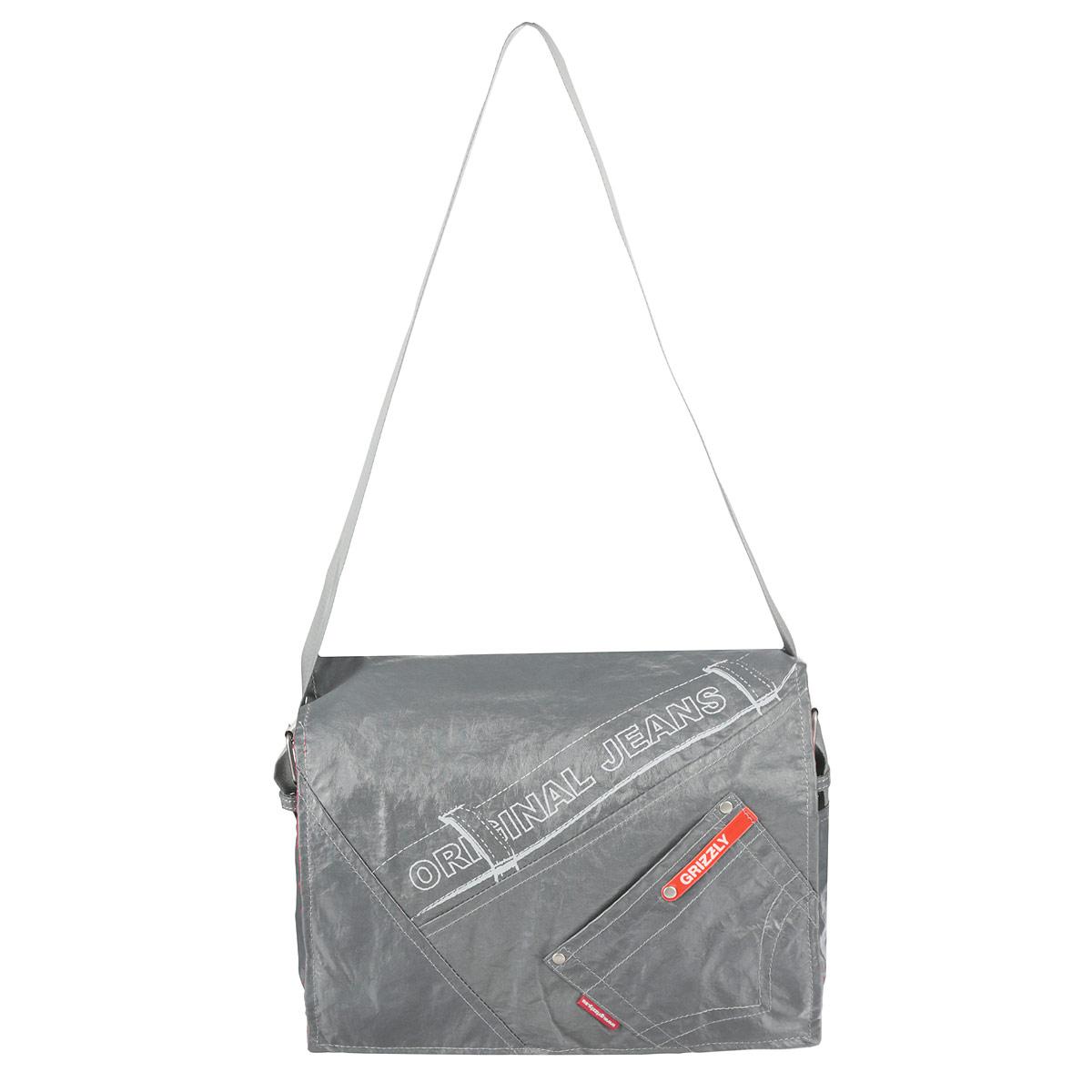 Сумка школьная Grizzly, цвет: серый. MM-340-2ММ 340-2/1Молодежная сумка с двумя отделениями, с плоским карманом на передней стенке, внутренним карманом для документов и карманом-пеналом, с регулируемым плечевым ремнем