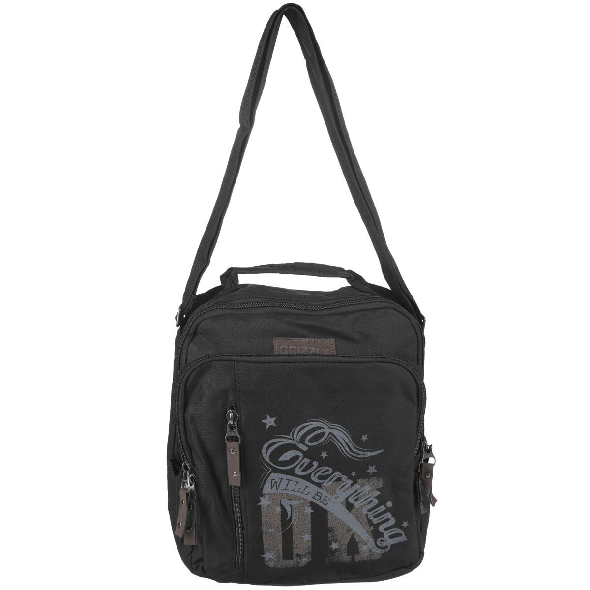 Сумка молодежная Grizzly, цвет: черный. MM-513-3ММ-513-3/2Молодежная сумка с одним отделением на молнии,с передними,задним и внутренним карманами.В переднем кармане имеется карман-органайзер.Сумка имеет укрепленное дно,ручку для переноски и регулируемый ремень.