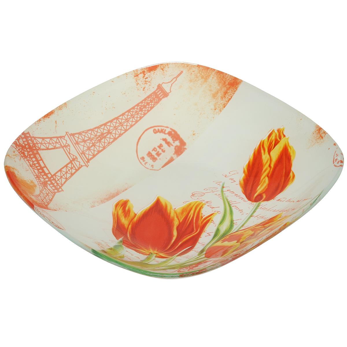 Тарелка суповая House & Holder Тюльпаны, 20 см х 20 см х 3,4 смS352008RF005Квадратная суповая тарелка House & Holder Тюльпаны, изготовленная из стекла, декорирована ярким изображением. Такая тарелка украсит сервировку вашего стола и подчеркнет прекрасный вкус хозяина, а также станет отличным подарком. Размер: 20 см х 20 см. Высота: 3,4 см.