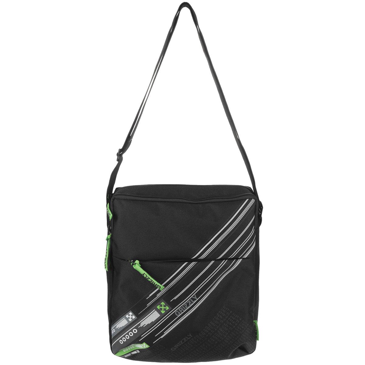 Grizzly Сумка школьная цвет черный салатовыйММ 502-3/1Молодежная сумка с одним отделением, с плоским карманом на передней и задней стенке, внутренним карманом для документов , с регулируемым плечевым ремнем