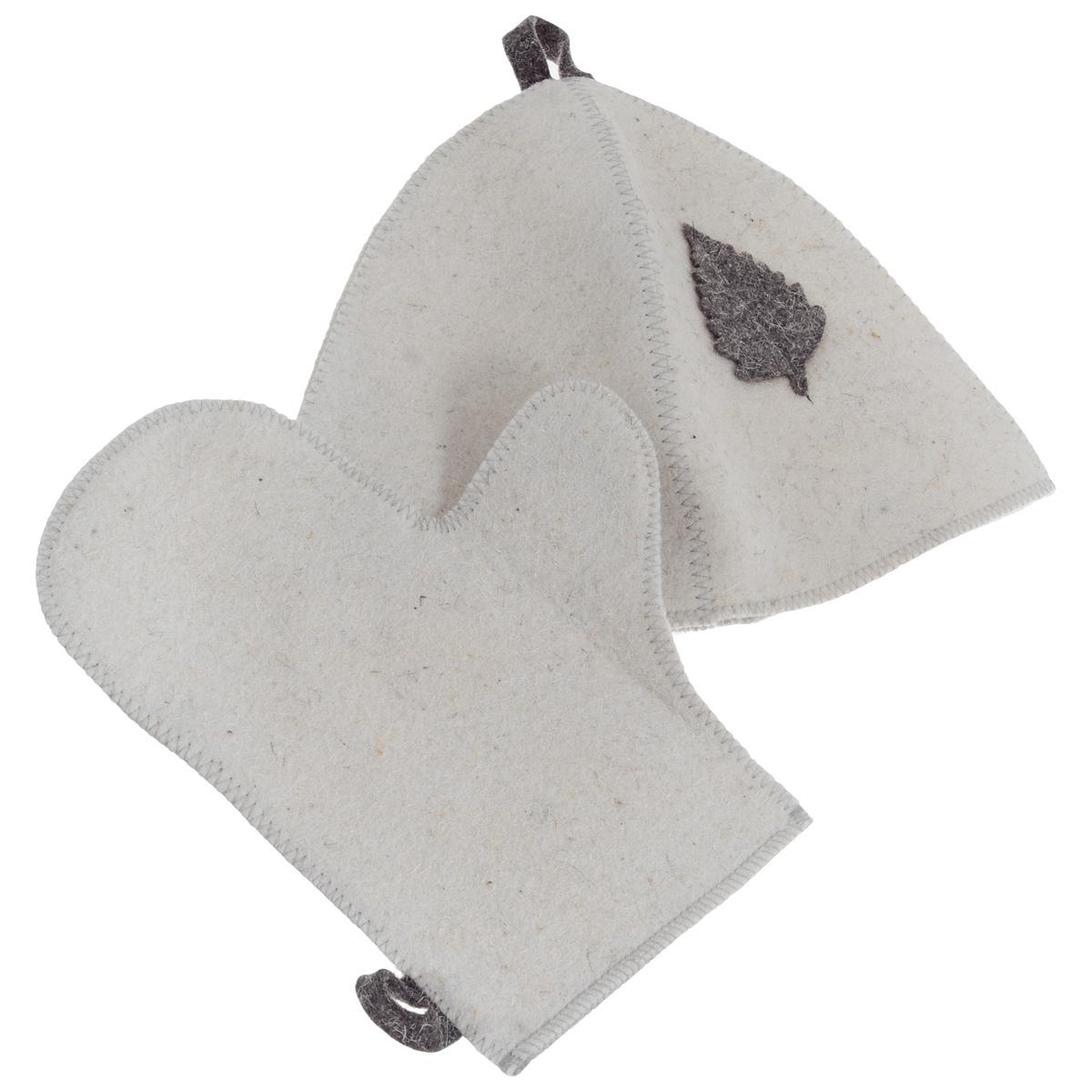 Набор для бани и сауны Главбаня, цвет: белый, серый, 2 предметаБ15_белый/серый листикНабор Главбаня, выполненный из войлока, состоит из шапки и рукавицы. Такой набор станет незаменимым и для любителей попариться в русской бани, и для тех, кто предпочитает сухой жар финской бани. Необычный дизайн изделий поможет сделать ваш отдых более приятным и разнообразным. Комплект станет отличным подарком для любителей отдыха в бане или сауне. Максимальный обхват головы (по основанию шапки): 70 см. Высота шапки: 23 см. Размер рукавицы (ДхШ): 28,5 см х 22,5 см.