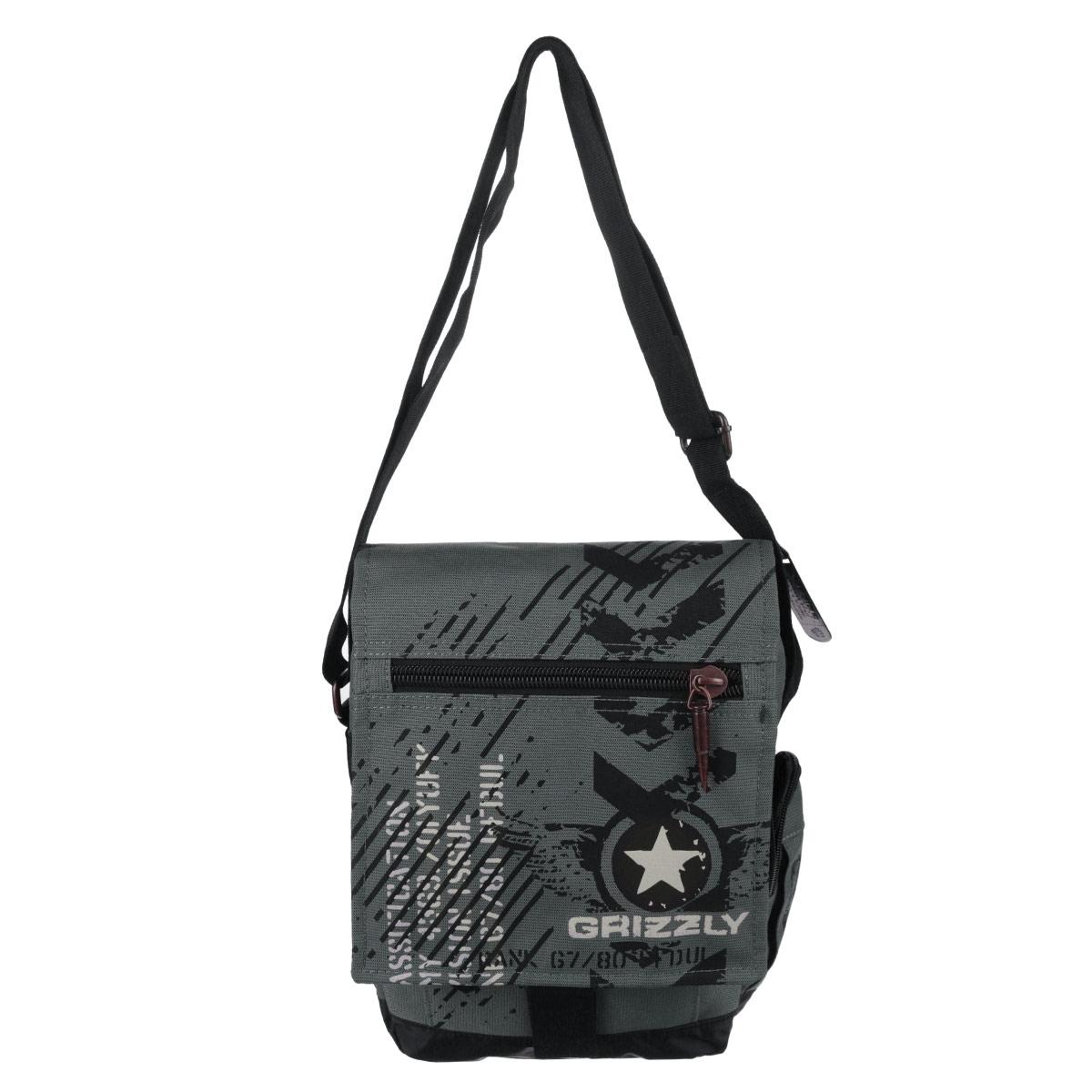 Сумка молодежная Grizzly, цвет: серый. MM-501-6MM-501-6/3Молодежная сумка с одним отделением, плоским карманом на молнии на клапане, плоским карманом на передней стенке, задним карманом, объемным боковым карманом на молнии, с рменными петлями на боковой стенке, срегулирующимся плечевым ремнем и комуфлированной подкладкой