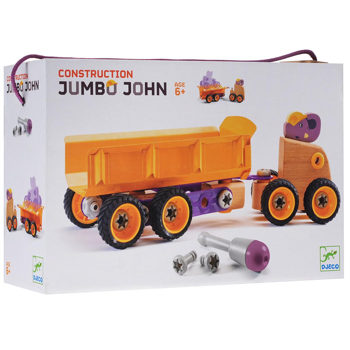 Djeco Конструктор-трансформер Слон Джон06696Конструктор-трансформер Djeco Слон Джон понравится вашему малышу. Конструктор включает 39 элементов, из которых малыш сможет собрать несколько вариантов грузовика, которым управляет слоник. Помогут ему в этом отвертка и схематичная инструкция, которые также входят в комплект. Элементы конструктора выполнены из дерева (целый бук), металла и пластика и имеют удобную для детских ручек форму. Они надежно крепятся друг к другу, так что игрушку можно не только собирать, но и играть с ней. Благодаря высочайшему качеству и прочным деталям с игрушкой прекрасно можно играть как дома, так и на улице. Детский конструктор Djeco Слон Джон развивает мелкую моторику рук, сообразительность и усидчивость ребенка.
