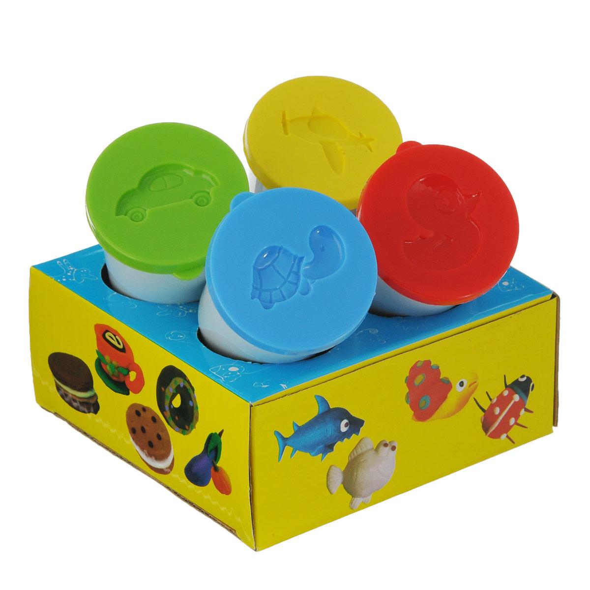 Тесто для лепки Centrum Hobby Kit: Color dough, 4 цвета83429Цветное тесто для лепки Centrum Hobby Kit: Color dough приведет в восторг вашего малыша. Тесто обладает удивительной пластичностью, не пачкается и не липнет к рукам и рабочей поверхности, очень податливо и принимает любые формы. Набор включает тесто 4 насыщенных цветов: красного, синего, желтого, зеленого, также имеются формочки в виде машинки, самолетика, черепашки, цыпленка. Цвета отлично смешиваются между собой, образуя новые оттенки. Тесто для лепки каждого цвета хранится в отдельной пластиковой баночке. Лепка из теста Centrum Hobby Kit: Color dough помогает малышам развить мелкую моторику рук, творческое мышление, фантазию и воображение, а также способствует самовыражению. 4 теста по 50 грамм.