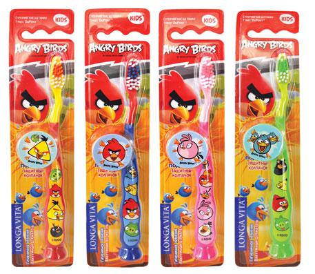 LONGA VITA FOR KIDS детская зубная щетка с защитным колпачком Angry Birds, арт. AB -1, в ассортименте
