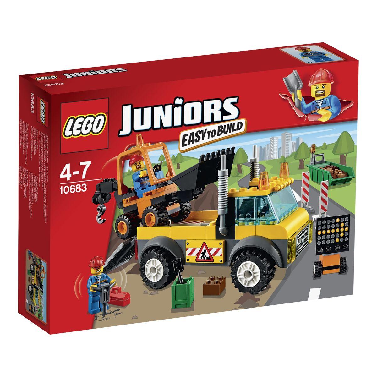 LEGO Juniors Конструктор Грузовик для дорожных работ 1068310683Чтобы отремонтировать дорожное полотно, необходимо разровнять грунт и вывести лишние камни. С этой задачей справится мощный грузовик из набора LEGO 10683. Его корпус выполнен из контрастных желто-серых деталей с добавлением наклеек, предупреждающий о ремонтных работах. Спереди видна кабина водителя, оборудованная противотуманными фарами, радиаторной решеткой и сигнальными огнями. За кабиной располагается грузовая платформа с откидным пандусом. Благодаря утяжеленной подвеске на ней можно перевозить крупногабаритные грузы, например экскаватор. Экскаватор, привезенный грузовиком, тоже готов выполнить множество строительных работ. С помощью подвижного ковша он может разравнивать землю и выгружать лишний грунт в мусорный контейнер. Когда контейнер наполняется, экскаватор зацепляет его своим подвижным крюком и увозит со строительной площадки. Также в наборе вы найдете 2 мини фигурки рабочих и множество аксессуаров для реалистичной игры: 2 каски, лопата, отбойный молоток, кейс для...