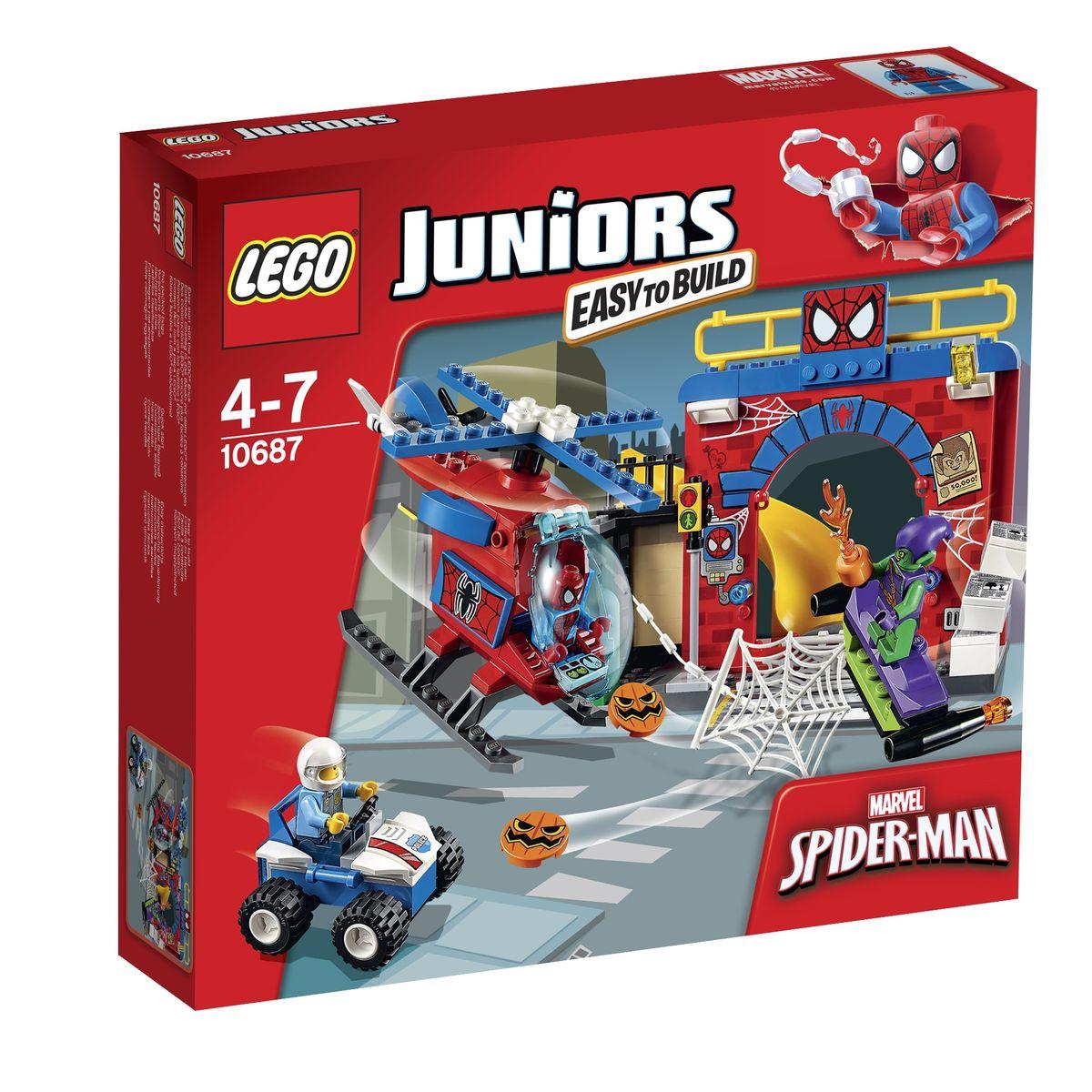 LEGO Juniors Конструктор Убежище Человека-паука 1068710687Из деталей набора LEGO 10687 вы сможете построить тайное убежище Человека-паука с множеством реалистичных функций. В основе конструкции лежит серая плита, являющаяся частью городской улицы с пешеходной зеброй, канализационным люком и светофором. Слева от перехода видна небольшая ниша, образованная откидной лестницей и балконом. В ней установлен белый почтовый ящик с открывающимся прозрачным окошком. Справа от балкона построена красная кирпичная арка, служащая фасадом заброшенного дома. Вход внутрь преграждает огромная паутина с функцией опускания. Также рядом с входом установлен компьютер, сигнальные огни и прожектор. На крыше здания организована дозорная площадка Человека-паука. При малейшей опасности, он может быстро спуститься вниз, используя свою потайную горку, и приготовиться к сражению. Для разведывательных миссий Человек-паук может использовать свой красно-синий вертолет с поднимающимся ветровым стеклом, вращающимися винтами, вместительным грузовым отсеком и возможностью...