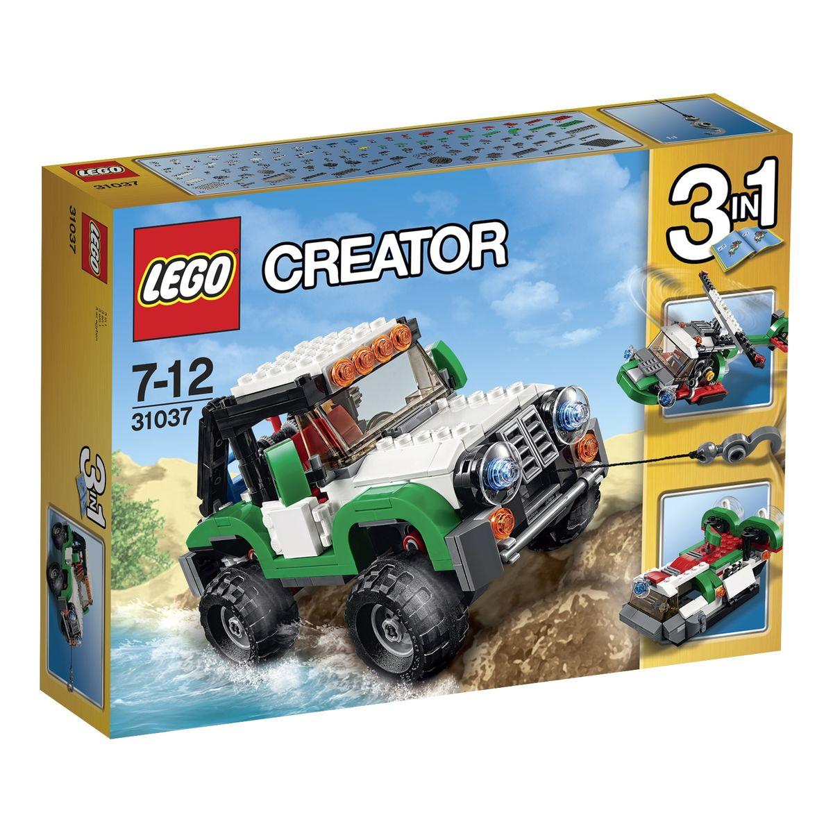 LEGO Creator Конструктор Внедорожники 3103731037Отправляйтесь в путешествие вместе с надежным внедорожником из набора LEGO 31037! Его корпус выполнен из контрастных, черно-белых деталей с добавлением зеленых элементов. Центральное место занимает кабина водителя, оборудованная тонированным ветровым стеклом, боковыми зеркалами и системой прожекторов. Открыв дверцы можно заглянуть внутрь кабины и рассмотреть интерьер, состоящий из двух красных сидений, приборной панели и руля. Перед кабиной виден массивный капот. Его отличительной особенностью являются большие фары, прямоугольная решетка радиатора и надежная лебедка с крюком. При помощи специального рычага, расположенного за креслом водителя, можно активировать лебедку и регулировать длину ее троса. Ходовая часть внедорожника представлена четырьмя большими колесами с рифлеными шинами и амортизаторами, которые сделают поездку более комфортной и безопасной. При желании модель джипа можно переделать в вертолёт с вращающимися винтами или в лодку на воздушной подушке. Игра с...