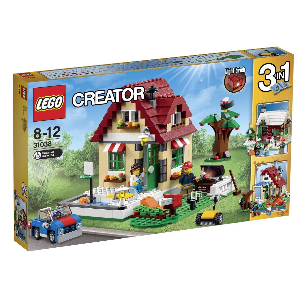 LEGO Creator Конструктор Времена года 3103831038Летний домик из набора LEGO 31038 представляет собой двухэтажную постройку с бежевыми стенами, зелеными окошками, красной крышей и печной трубой. Конструкция дома распашная, что позволяет детально рассмотреть интерьер. Внутри вы найдете стол с лампой, стул, софу и лестницу. Перед домом организован просторный участок, разделённый на две зоны. Справа виден бассейн с трамплином и инвентарём для игры в водный баскетбол. Рядом с бассейном есть небольшая клумба и два фонаря, которые станут незаменимыми помощниками во время вечерних прогулок. Слева от дома располагается зона барбекю, отгороженная белой изгородью и небольшим кустарником. Здесь под раскидистым деревом установлен мангал, столик и шезлонг для отдыха. Также в наборе вы найдете светящийся кирпичик, который можно использовать в строительстве мангала или камина, 2 мини фигурки с аксессуарами и детали для создания почтового ящика, газонокосилки и спортивного кабриолета. При желании летний домик можно переделать в зимнее шале...