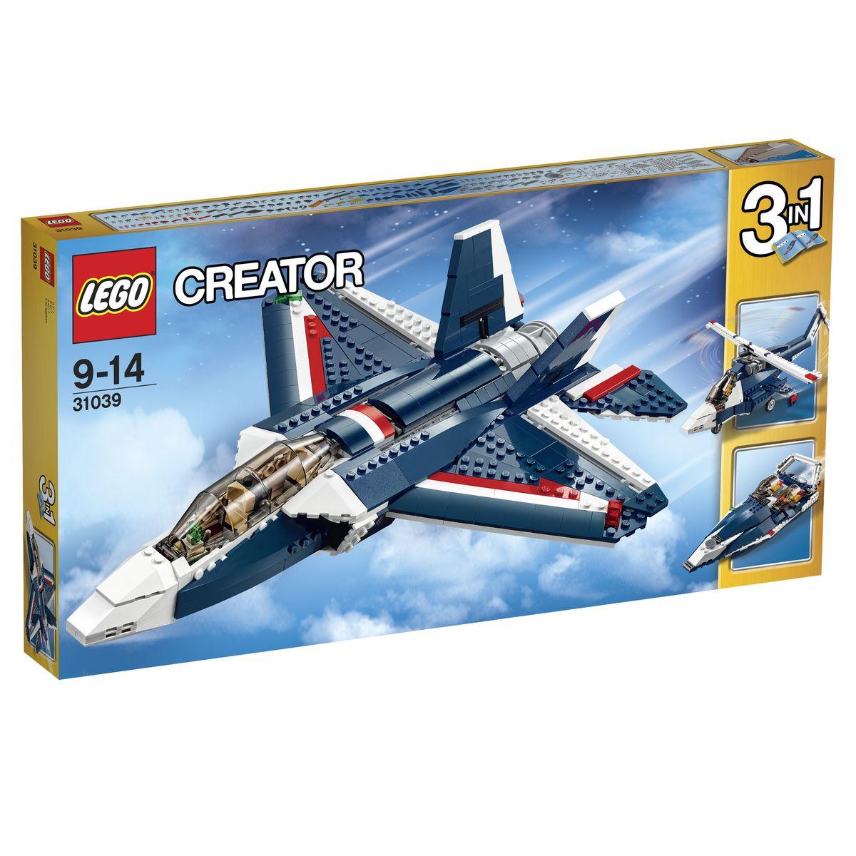LEGO Creator Конструктор Синий реактивный самолет 3103931039Реактивный самолет из набора LEGO 31039 создан с огромным вниманием к деталям. Его корпус выполнен из сине-белых элементов с добавлением красных контрастных полос. Спереди видна обтекаемая кабина пилота. Подняв тонированное лобовое стекло, можно рассмотреть места для двух пилотов, а также приборную панель и штурвал. За кабиной располагается моторный отсек с откидными стенками. В нем установлены два турбореактивных двигателя, приводящих в движение хвостовой воздушный винт. На боках фюзеляжа закреплены симметричные треугольные крылья с габаритными огнями и подвижными закрылками. В хвостовой части видны вертикальные стабилизаторы, а под днищем - скрадывающиеся шасси. При желании модель истребителя можно переделать в вертолет или катер на воздушной подушке. Игра с конструктором LEGO развивает мелкую моторику ребенка, фантазию и воображение, учит его усидчивости и внимательности. Рекомендуемый возраст: от 9 до 14 лет.