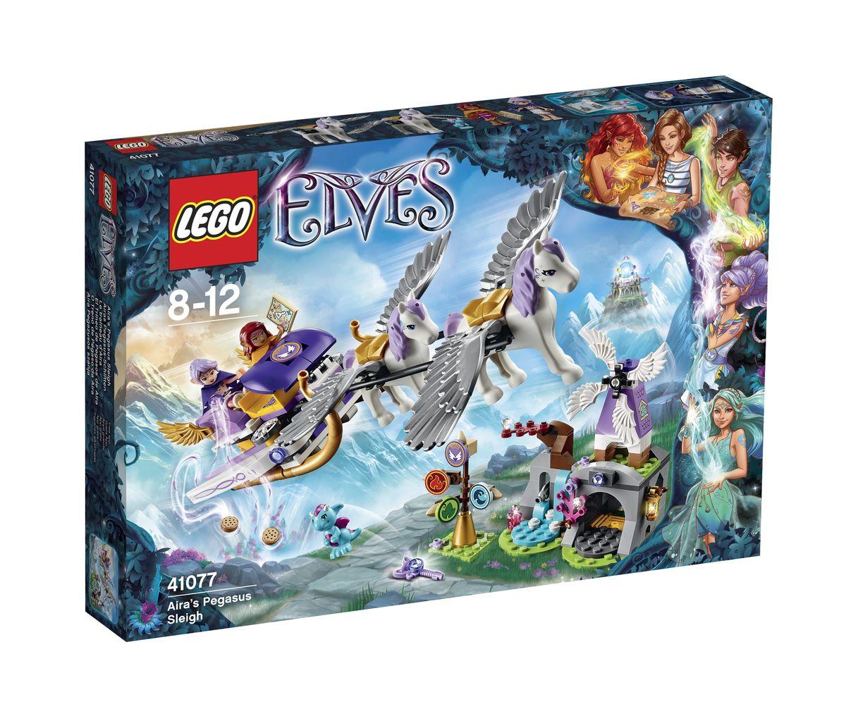 LEGO Elves Конструктор Летающие сани Эйры 4107741077Чтобы вернуть Эмили Джонс в мир людей, эльфийки Эйра и Азари должны объединить усилия и добыть четвертый ключ Стихий. Вместе, волшебницы решили отправиться в далекое путешествие туда, где вершины гор встречаются с небом, и где живут самые настоящие драконы. Но добраться до драконьего царства нелегко! Для этого понадобятся удивительные летающие сани, запряженные сказочными пегасами. Корпус саней выполнен из фиолетово-белых деталей с добавлением золотых элементов. Внутри видны два посадочных места, расположенных друг за другом. По бокам установлены складные длинные крылья и подвижные малые крылышки. Под днищем закреплены изогнутые полозья. Сзади расположена площадка для сундука, в котором можно перевозить, продукты, карту или добытый ключ. Также из деталей набора LEGO 41077 вы сможете построить дом дракончика Мику, состоящий из нескольких частей. Справа располагается небольшой водопад с рыбками и чудесными кристаллами, а слева - глубокая пещера с мельницей, фонарем и тайником....