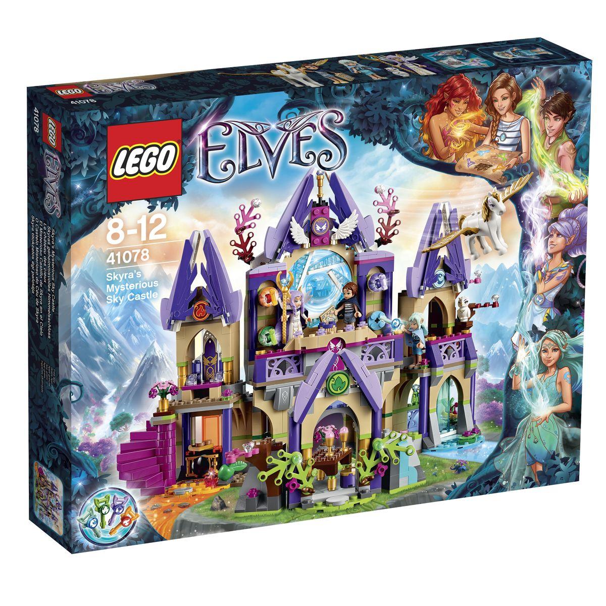 LEGO Elves Конструктор Небесный замок Скайры 4107841078Совершив невероятное путешествие по стране эльфов и добыв все четыре ключа Стихий, Эмили Джонс спешит к волшебному порталу, который перенесет ее обратно в мир людей. Но, на пути девочки встает последнее и самое трудное испытание. Чтобы вернуться домой, ей необходимо добраться до небесного замка и, пройдя все ловушки, уговорить хранительницу Скайру открыть портал. Из деталей набора LEGO 41078 Вы сможете построить сказочный замок Скайры с множеством комнат и балконов. Вход в замок преграждает каменная арка, заросшая кустарником. Используя волшебную силу, можно раздвинуть колючие ветки и попасть во двор замка. Здесь, для приема гостей поставлен большой дубовый стол и четыре стула. За ними виден просторный зал с бежевыми стенами и цветущей клумбой. Справа от него располагается Спа-комплекс с разнообразными водными процедурами. Но, попасть в него может только настоящая волшебница, которая при помощи заклинаний остановит водопад и сдвинет стены. С противоположной стороны от...