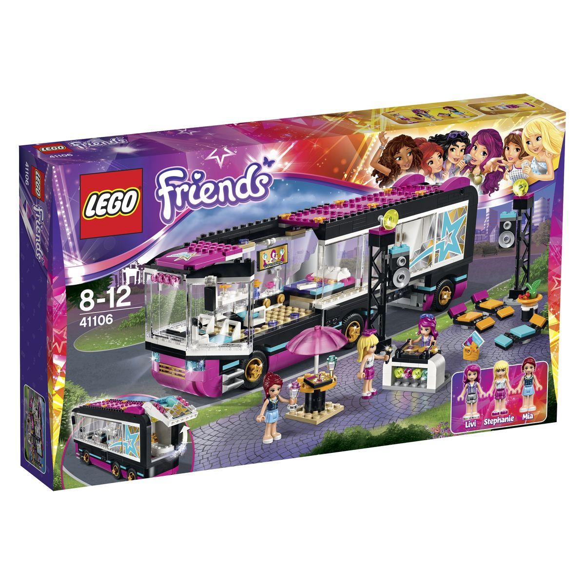 LEGO Friends Конструктор Поп звезда Гастроли 4110641106Автобус для турне из набора LEGO 41106 - это передвижная комфортабельная квартира, позволяющая известным исполнителям путешествовать по соседним городам и организовывать выступления для своих фанатов. Корпус автобуса состоит из черно-розовых деталей с добавлением прозрачных панорамных окон. Спереди располагается массивная кабина водителя, оборудованная открывающейся дверью, двумя креслами, приборной панелью, боковыми зеркалами и обтекаемыми голубыми фарами. За кабиной организовано место отдыха поп-звезд, состоящее из большой кровати, тумбочки, телевизора, кресла и стола, сидя за которым, можно отвечать на письма поклонников. В задней части автобуса организована маленькая уборная с ванной, краном и унитазом. Чтобы рассмотреть ее интерьер, достаточно поднять багажную белую дверь с розовыми фарами. Для более реалистичной игры в интерьере, можно воспользоваться функцией трансформации автобуса, при которой кабина и комната отдыха остаются на месте, а багажник отъезжает назад. Это...