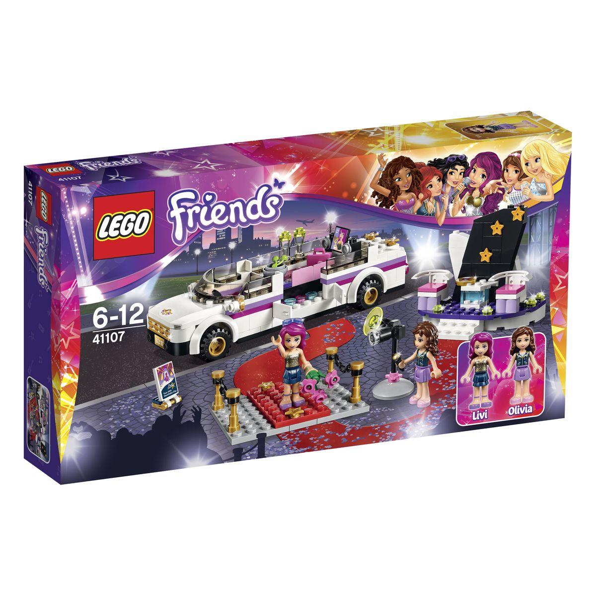 LEGO Friends Конструктор Поп звезда Лимузин 4110741107Роскошный лимузин из набора Лего 41107 создан специально для поездок известной поп-звезды Ливи. Его вытянутый корпус выполнен в белом цвете с добавлением контрастных полос и золотых элементов. Лимузин не имеет крыши, что позволяет детально рассмотреть его интерьер. Спереди располагается кабина водителя, окруженная тонированным ветровым стеклом. За ней виден просторный салон, в котором есть все необходимое для комфортных путешествий: удобный розовый диван, мини-бар с прохладительными напитками и телевизор с плоским экраном и большими колонками. Для эффектного выхода из автомобиля для Ливи установили распашные дверцы, которые позволяют легко покинуть салон и не помять концертный наряд. Также из деталей набора вы сможете построить красную ковровую дорожку с оградой и телевизионную студию для интервью. В набор входят 2 фигурки: Ливи и Оливия, и множество аксессуаров для реалистичной игры: профессиональная видеокамера, микрофон, CD-диск, 2 стакана с напитками, тарелка с...