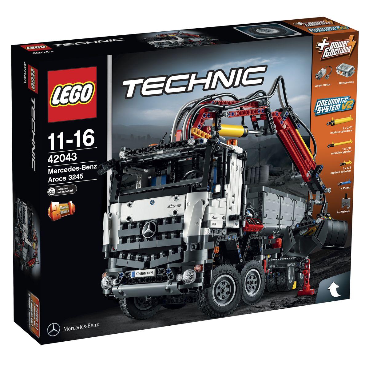 LEGO Technic Конструктор Mercedes-Benz Arocs 4204342043Масштабная копия многофункционального грузовика из набора LEGO 42043 станет лучшим подарком для поклонников серии Technic! Корпус грузовика выполнен из бело-серо-черных деталей с добавлением красных элементов и узнаваемых логотипов Mercedes-Benz. Спереди видна массивная кабина водителя, оборудованная боковыми зеркалами, открывающимися дверями, системой освещения, непробиваемой радиаторной решёткой, двумя синими креслами и приборной панелью. Откинув кабину, можно рассмотреть 6-ти цилиндровый двигатель с желтыми подвижными поршнями. Ходовая часть грузовика представлена независимой подвеской с амортизаторами особой прочности. На передней оси установлены четыре рулевых колеса, управлять которыми можно с помощью закрепленных на крыше сигнальных огней. Задняя ось выглядит очень надежной. Это достигается благодаря спаренным колёсам, повышающим маневренность и грузоподъемность. Чтобы предотвратить опрокидывание корпуса во время погрузочных работ, необходимо воспользоваться выносными опорами....