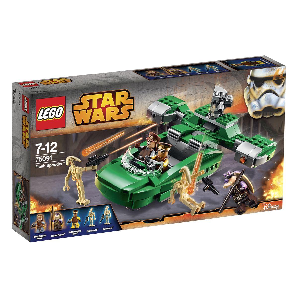 LEGO Star Wars Конструктор Флэш спидер 7509175091Флеш-спидер - это скоростное транспортное средство, разработанное силами безопасности планеты Набу. Изначально эти машины использовались для патрулирования городских улиц и быстрого перемещения между соседними населенными пунктами. Но, все изменилось после вторжения на планету боевых дроидов Торговой Федерации. «Вспышкам» пришлось пополнить ряды более тяжелой военной техники, чтобы защитить мирное население от вражеских оккупантов. Из деталей набора LEGO 75091 вы сможете построить реалистичную модель спидера с планеты Набу. Его корпус выполнен в ярко-зеленом цвете, позволяющем сливаться с густой растительностью планеты. Центральное место в конструкции отведено просторной кабине пилота, оборудованной симметрично поднимающимися боковыми дверцами. В ней могут поместить не только два солдата, составляющие стандартный экипаж, но и два пассажира с минимальным грузом. Ходовая часть спидера представлена репульсорными двигателями с рулевыми закрылками и воздухозаборниками,...