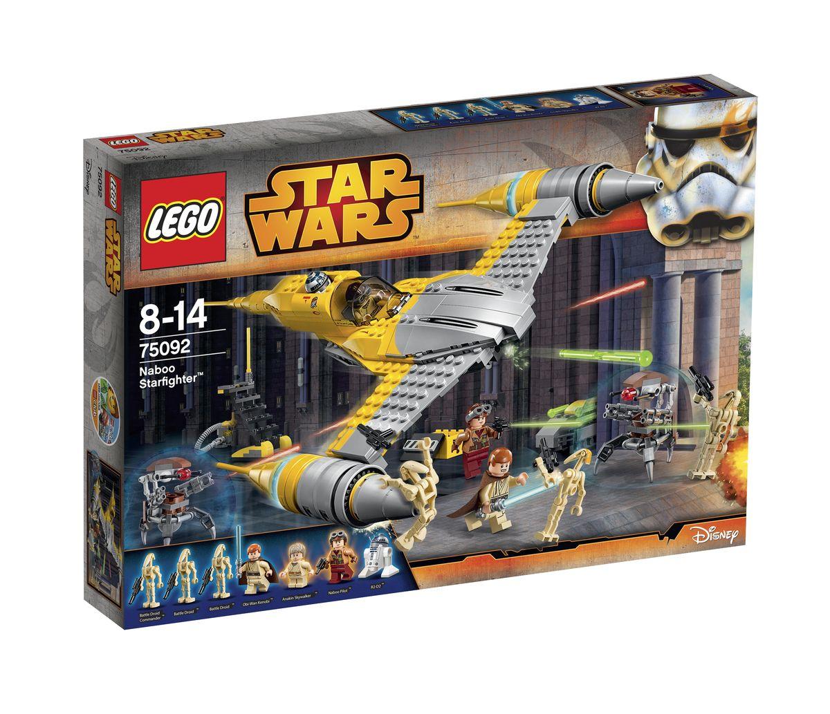 LEGO Star Wars Конструктор Истребитель Набу 7509275092Звездный истребитель Набу представляет собой уникальный летательный аппарат, созданный Инженерным Корпусом Космических Кораблей. В основе конструкции лежит альянс функциональности, экологичности и маневренности. Это достигается благодаря обтекаемым аэродинамическим формам и новейшему оборудованию. Истребители, предназначенные для использования высокопоставленными персонами, имеют отличительные особенности. Спереди их желтый фюзеляж покрыт хромовой обшивкой, способной отражать солнечные лучи и эффектно смотреться в небе. Также в носовой части истребителя располагаются два симметричных крыла, на конце которых установлены мощные двигатели с длинными заостренными теплообменниками системы охлаждения. Центральная часть звездолета предназначена для кабины пилота, прикрытой тонированным стеклом. Так как облегченная конструкция не предусматривает наличие штурмана или стрелка, то их функции выполняет астромеханический дроид, занимающий специальную нишу в хвосте истребителя. Вооружение...