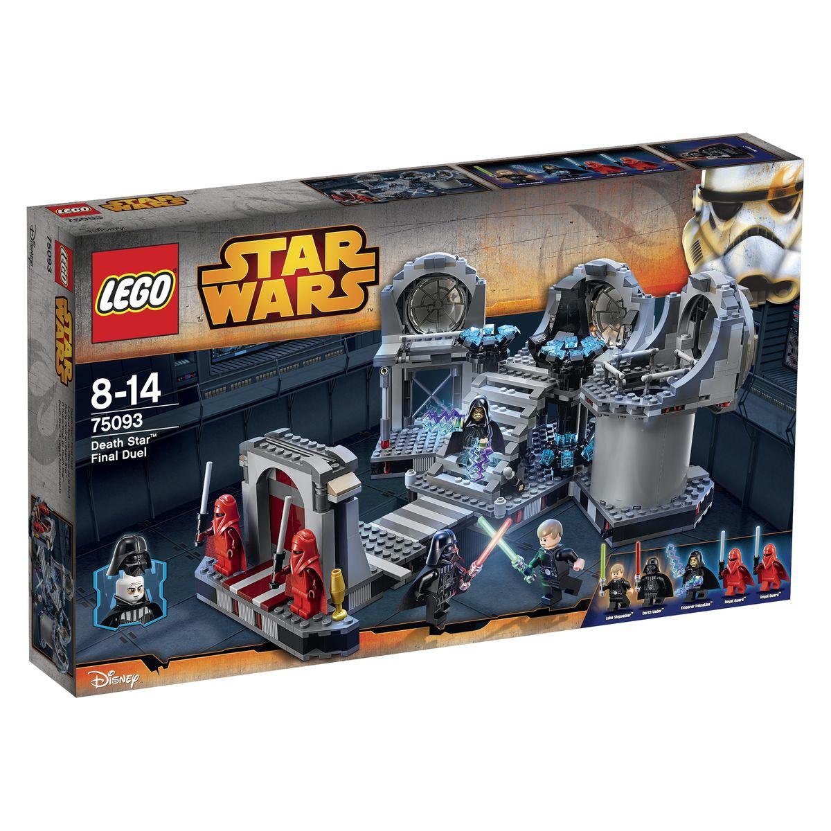 LEGO Star Wars Конструктор Звезда Смерти Последняя схватка 7509375093Схватка на «Звезде Смерти II» - это последняя дуэль на световых мечах, произошедшая между Люком Скайуокером и Дартом Вейдером. В результате сражения был убит Император Палпатин и смертельно ранен сам Дарт Вейдер. Но, главным событием стало то, что перед гибелью могущественный Лорд ситов смог почувствовать в себе частичку добра и вернуться на Светлую сторону Силы, а его сын Люк Скайуокер завершил свое обучение и стал рыцарем-джедаем. Из деталей набора Лего 75093 вы сможете построить тронный зал Императора Палпатина, расположенный на верхушке одной из башен второй Звезды Смерти. Охраной данного помещения занимаются Имперские гвардейцы, одетые в красную униформу и вооруженные силовыми пиками. Интерьер покоев выполнен в серых тонах, также как и остальные помещения Орбитальной боевой станции. Центральное место отведено высокой лестнице, ведущей к черному вращающемуся трону. Рядом с ним видны симметричные энергетические модули и большой выпуклый иллюминатор. Правое крыло зала,...